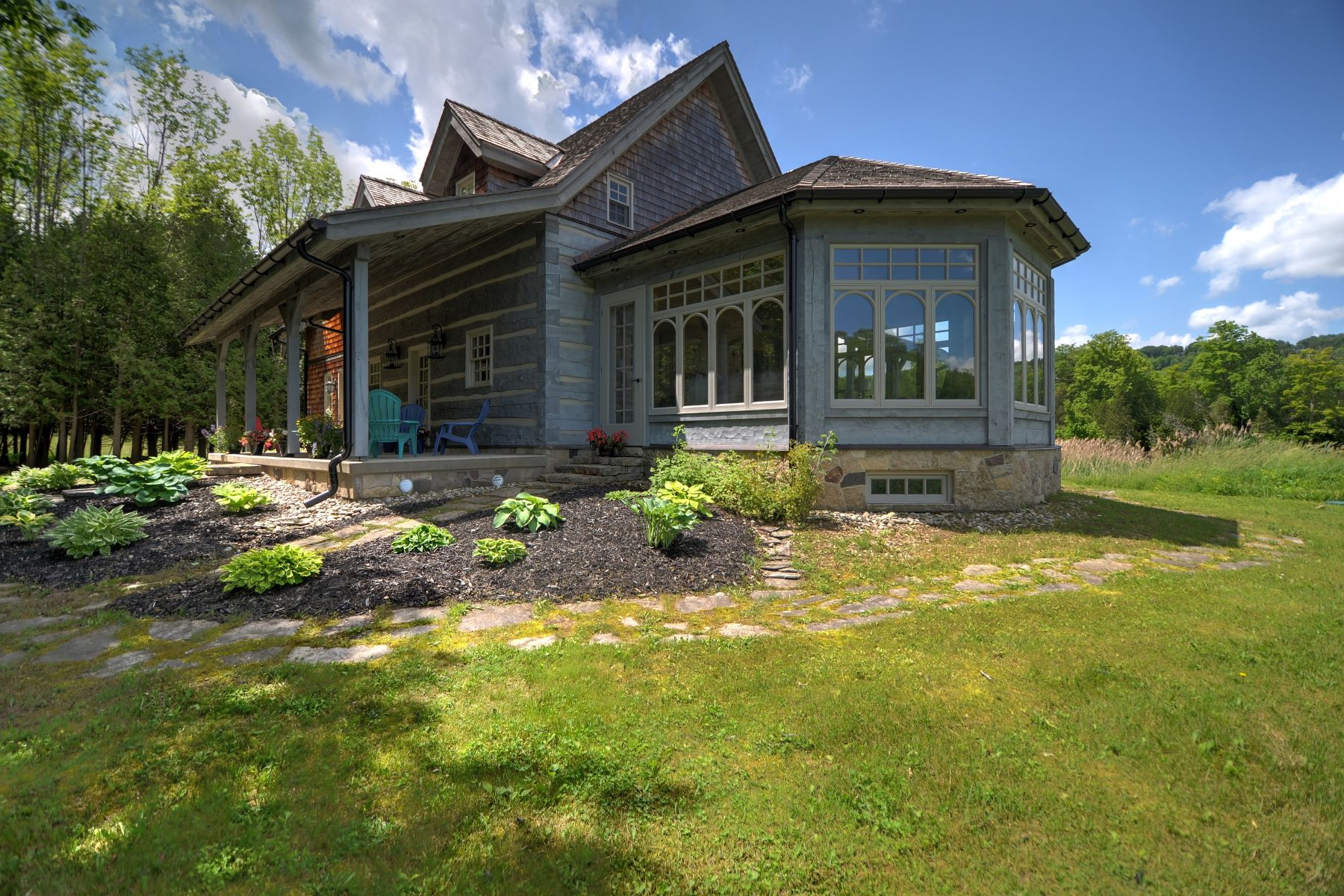 Single Family Homes for Sale at Charming Riverside Log Chalet 174708 30 Grey Rd Grey Highlands, Ontario N0C 1G0 Canada