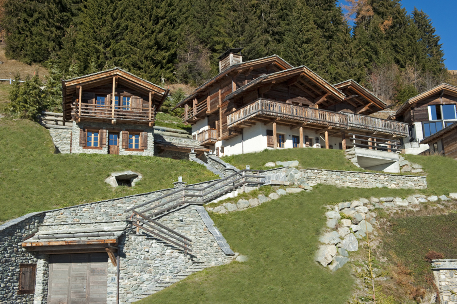 sales property at Elegant chalet with old timber mazot Clear views overlooking the resort