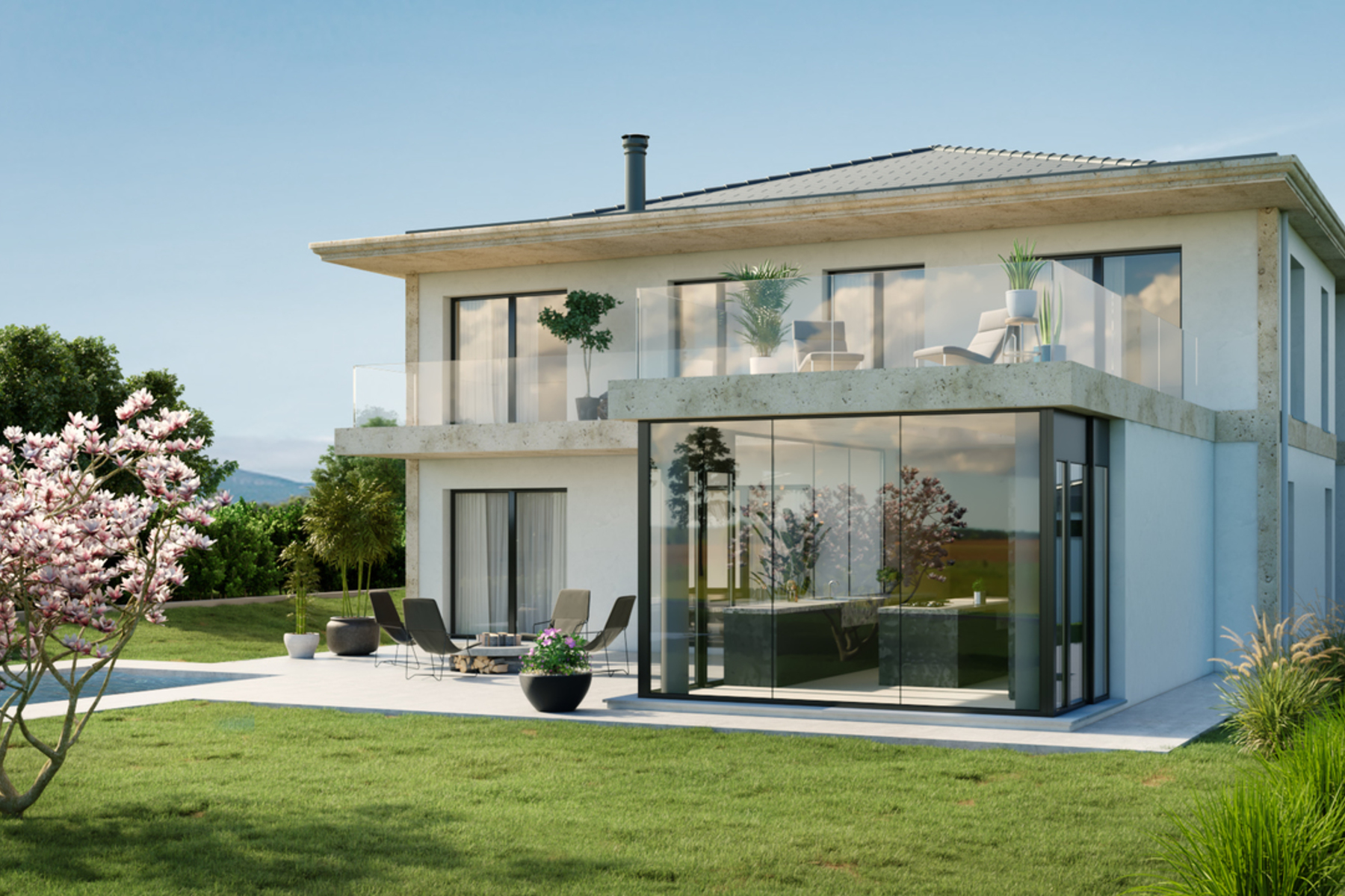 Single Family Homes for Sale at Splendid contemporary house under construction Mies Mies, Vaud 1295 Switzerland