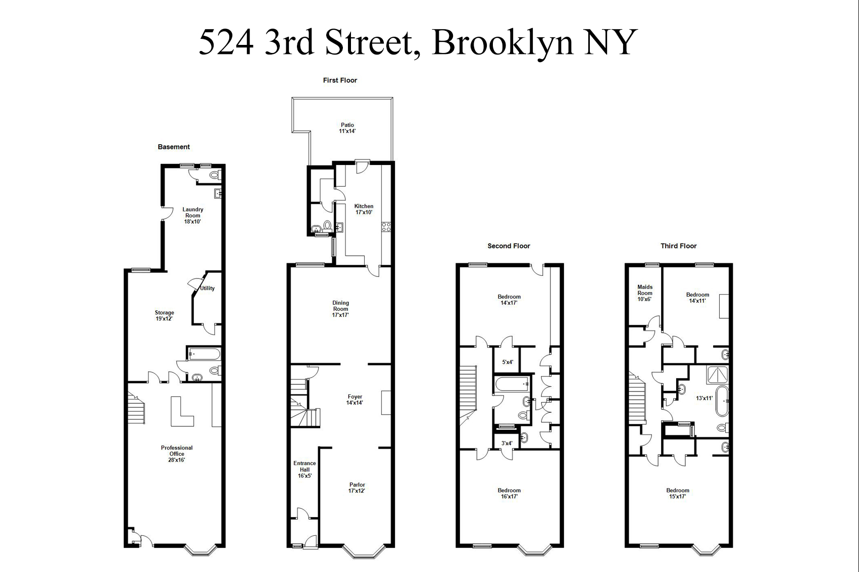 Casa Unifamiliar por un Venta en 524 Third Street 524 3rd street Brooklyn, Nueva York 11215 Estados Unidos
