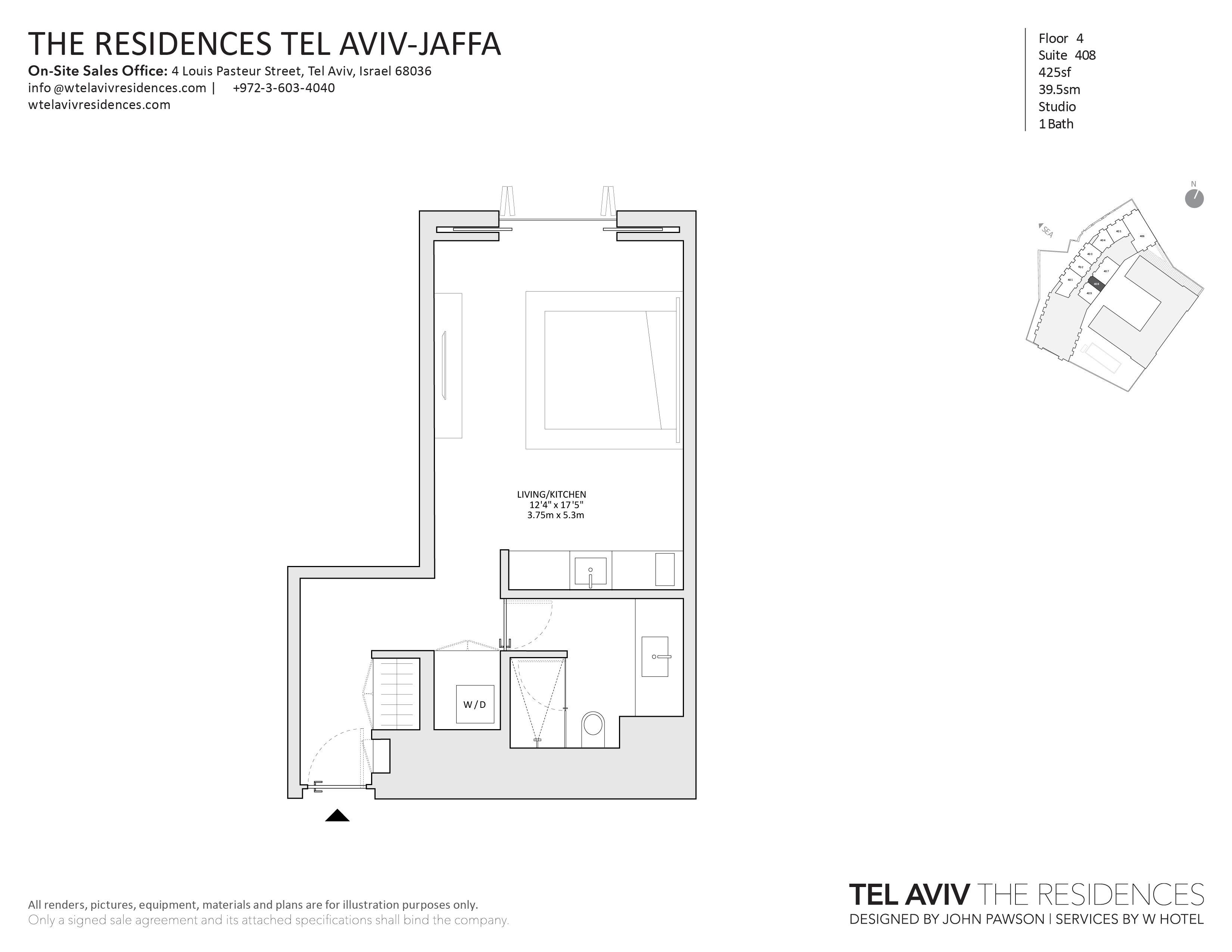 公寓 为 销售 在 W Tel Aviv Residences, 408 Luxury Studio Apartment 特拉维夫, 以色列 68036 以色列