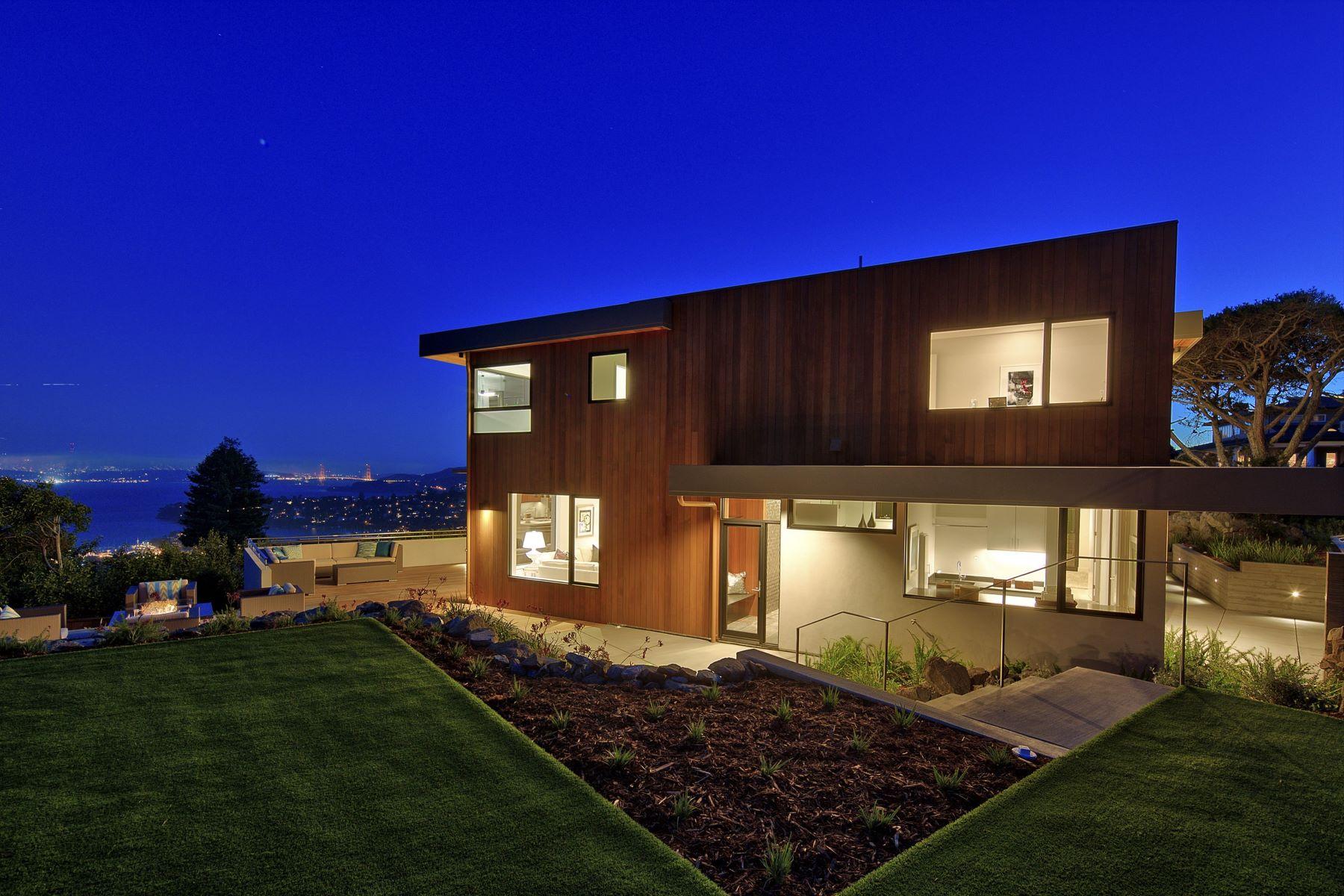 واحد منزل الأسرة للـ Sale في Spectacular Ultra Contemporary Home 86 Sugarloaf Dr Tiburon, California 94920 United States