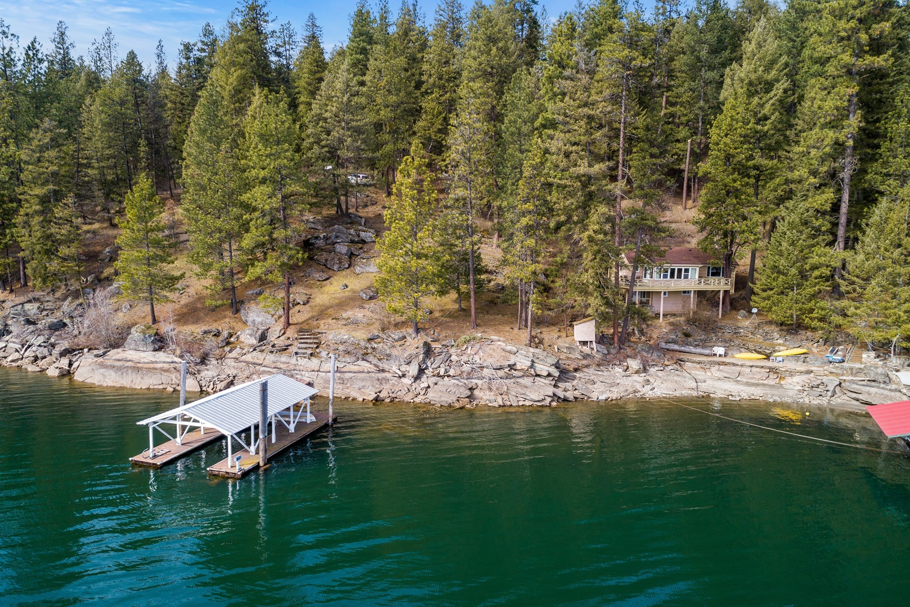 Single Family Homes for Sale at Mica Bay Cabin with 250ft Cd'A Lakefront 5486 W Mica Shore Rd Coeur D Alene, Idaho 83814 United States