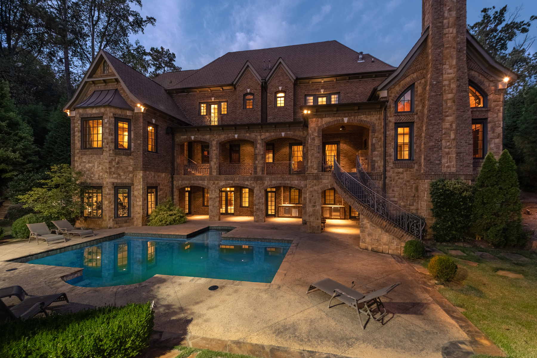 Single Family Home for Sale at Custom Gated Stone Estate With Lighted Tennis Court And Heated Pool 4934 Powers Ferry Road Atlanta, Georgia 30327 United States