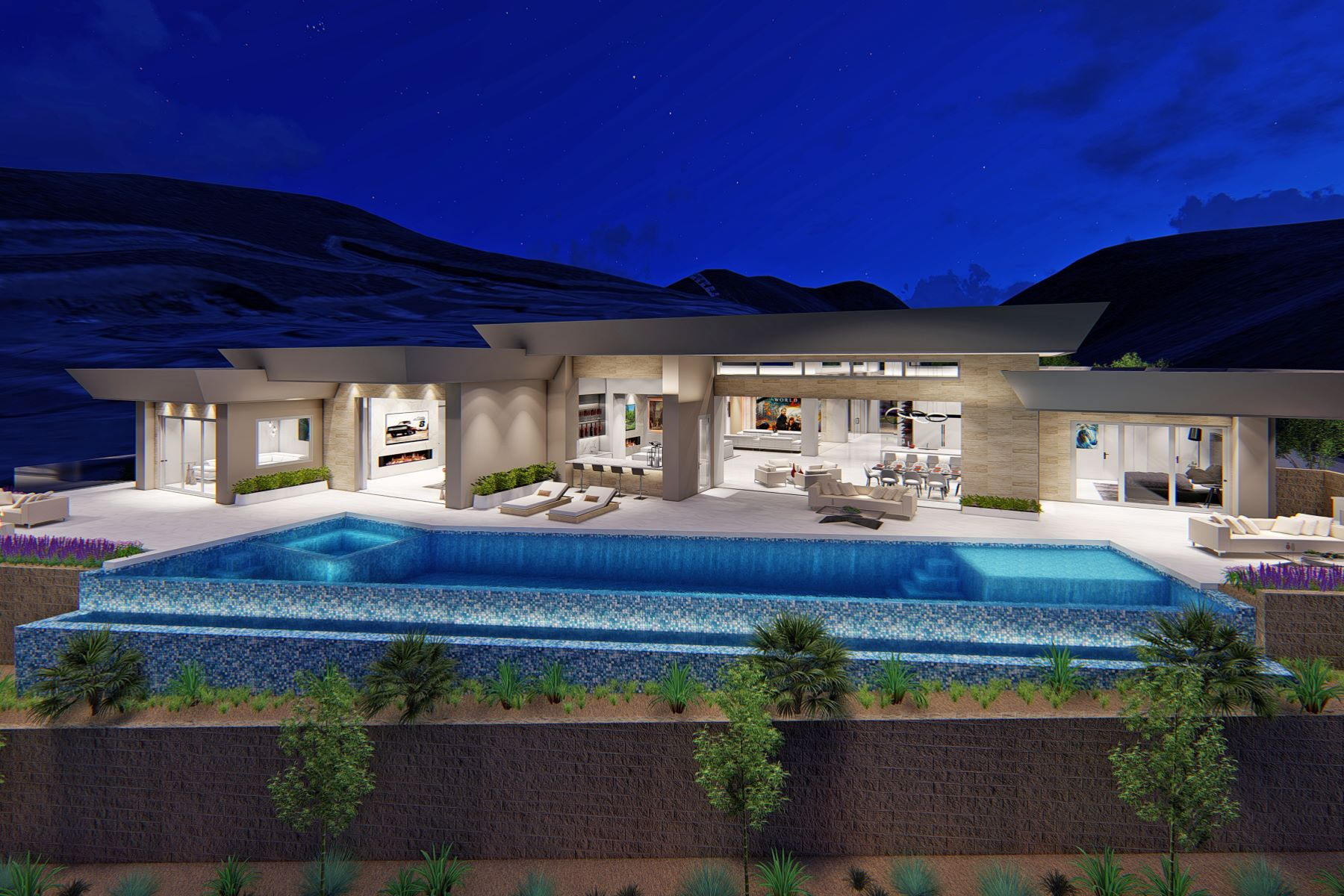 Single Family Homes por un Venta en Antares New Modern Single Story with 75' Lap Pool and Strip Views 686 Tranquil Rim Henderson, Nevada 89012 Estados Unidos