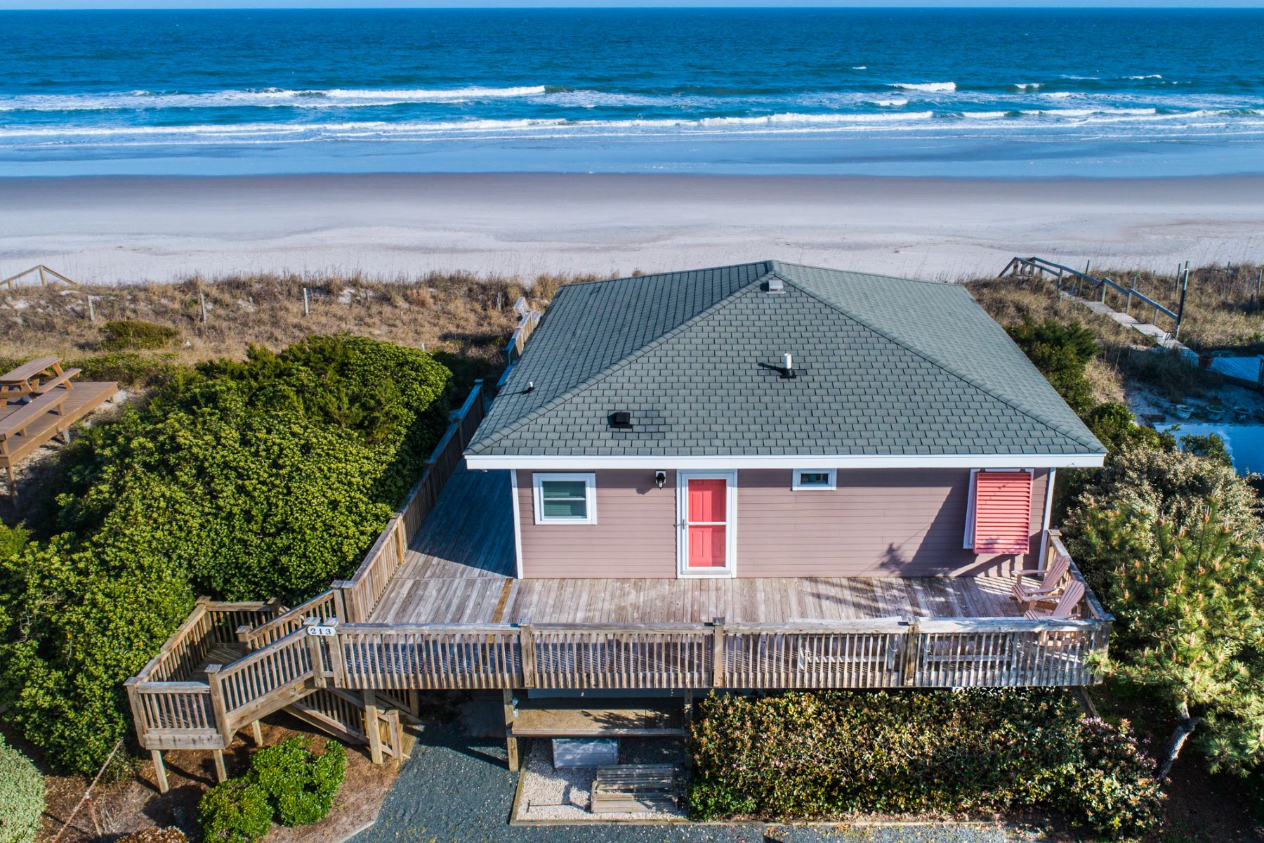 Single Family Home for Sale at Unique Beachfront Vintage Cottages 213 S Anderson Blvd A&B, Topsail Beach, North Carolina, 28445 United States