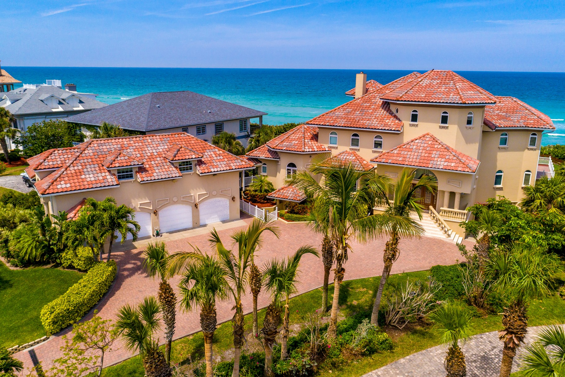 Single Family Home for Sale at Luxurious Mediterranean Oceanfront Masterpiece 8345 Highway A1A, Melbourne Beach, Florida 32951 United States