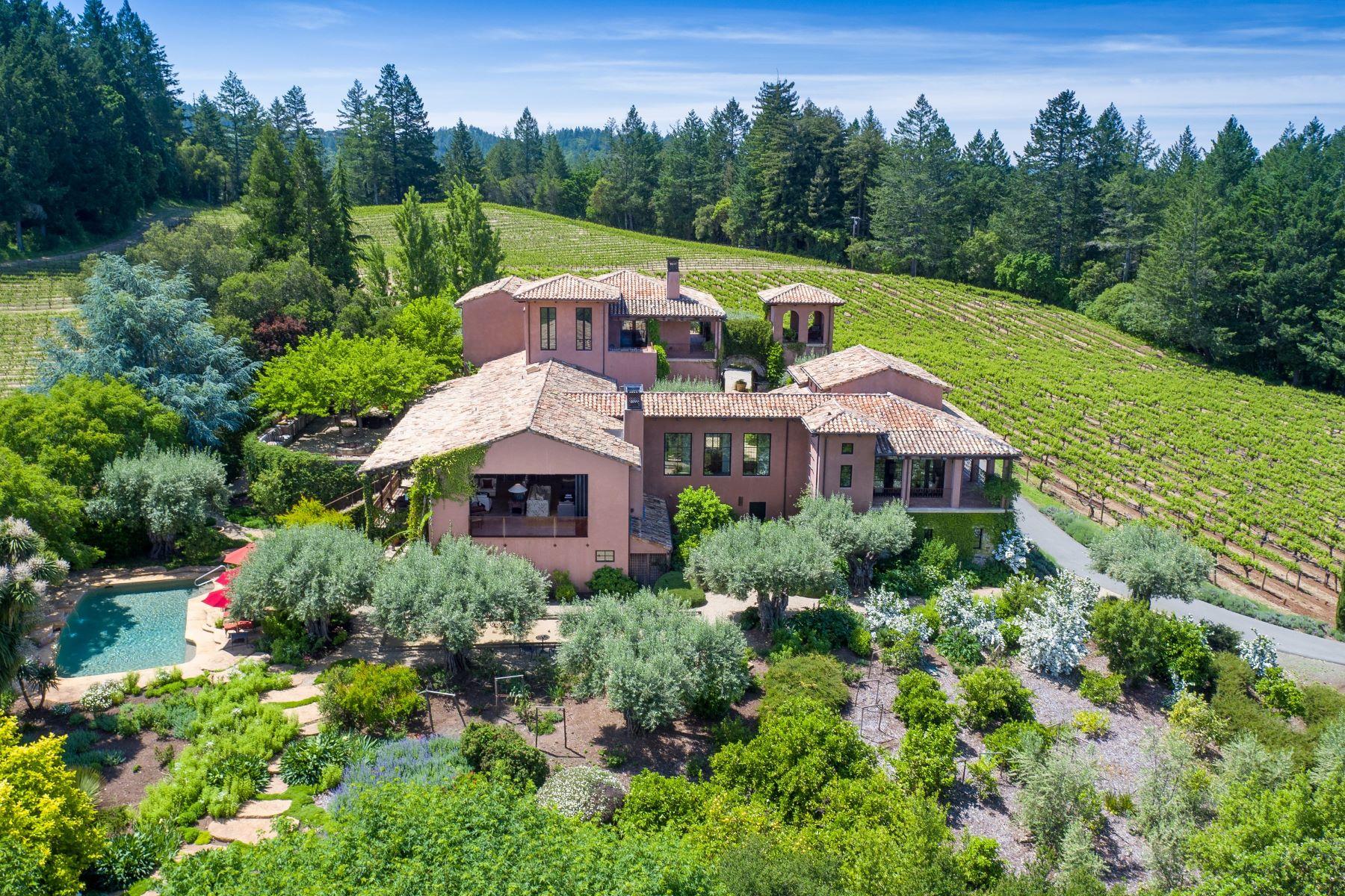Casa Unifamiliar por un Venta en Prized Hilltop Villa and Vineyard 5800 Petrified Forest Road Calistoga, California 94515 Estados Unidos