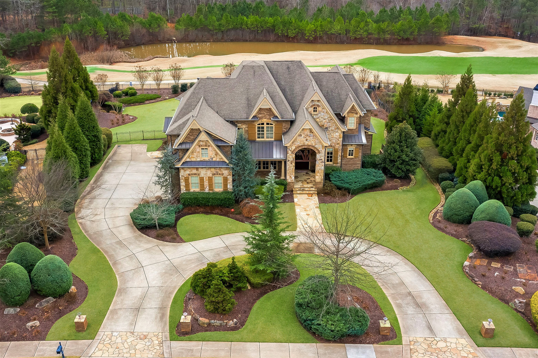 Single Family Homes for Sale at Detailed Golf Lot Home In The Manor With Panoramic Fairway View 3107 Watsons Bend Milton, Georgia 30004 United States