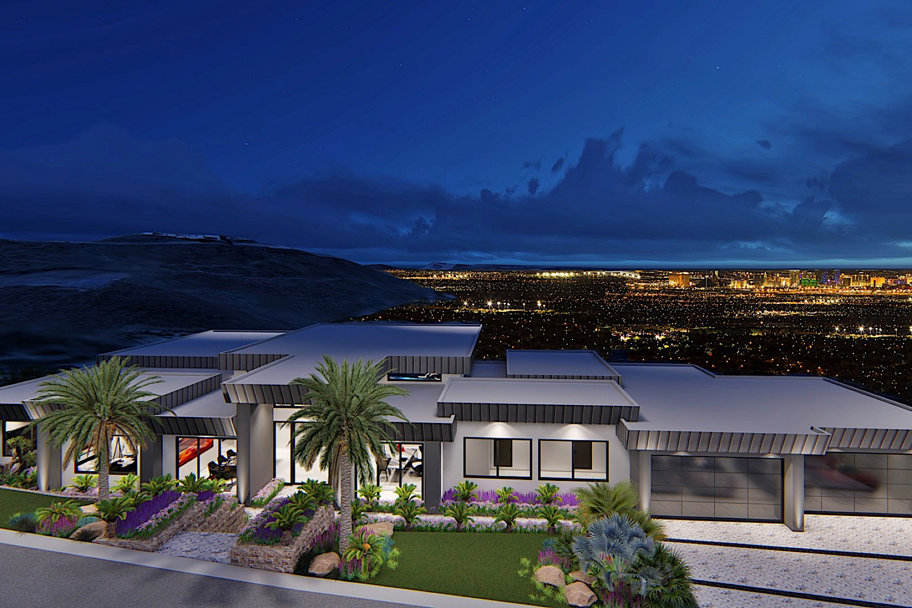 Single Family Homes for Active at Aries - New Modern 1 Story with Strip Views & 7 Car Garage 508 Dragon Gate Ct Henderson, Nevada 89012 United States