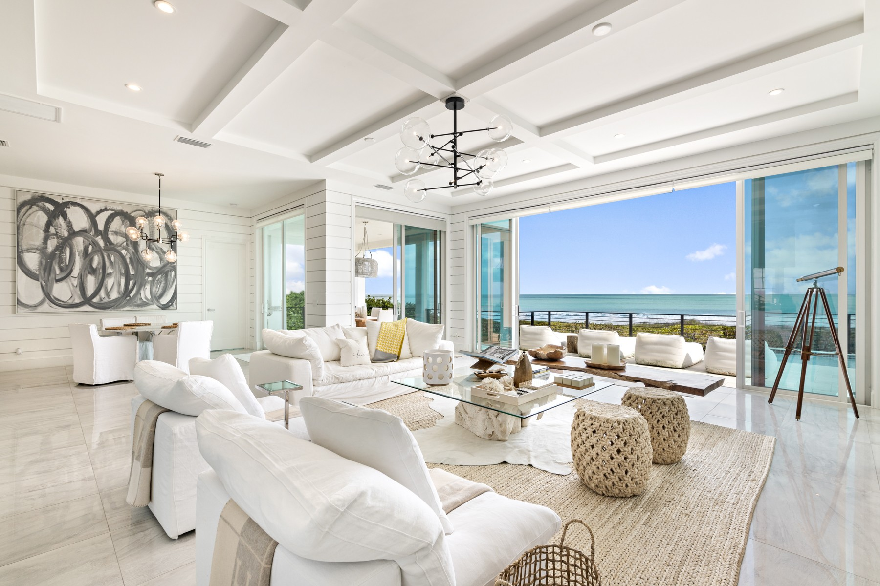 Single Family Homes for Sale at Oceanfront Designer Masterpiece 4440 N Highway A1A Hutchinson Island, Florida 34949 United States
