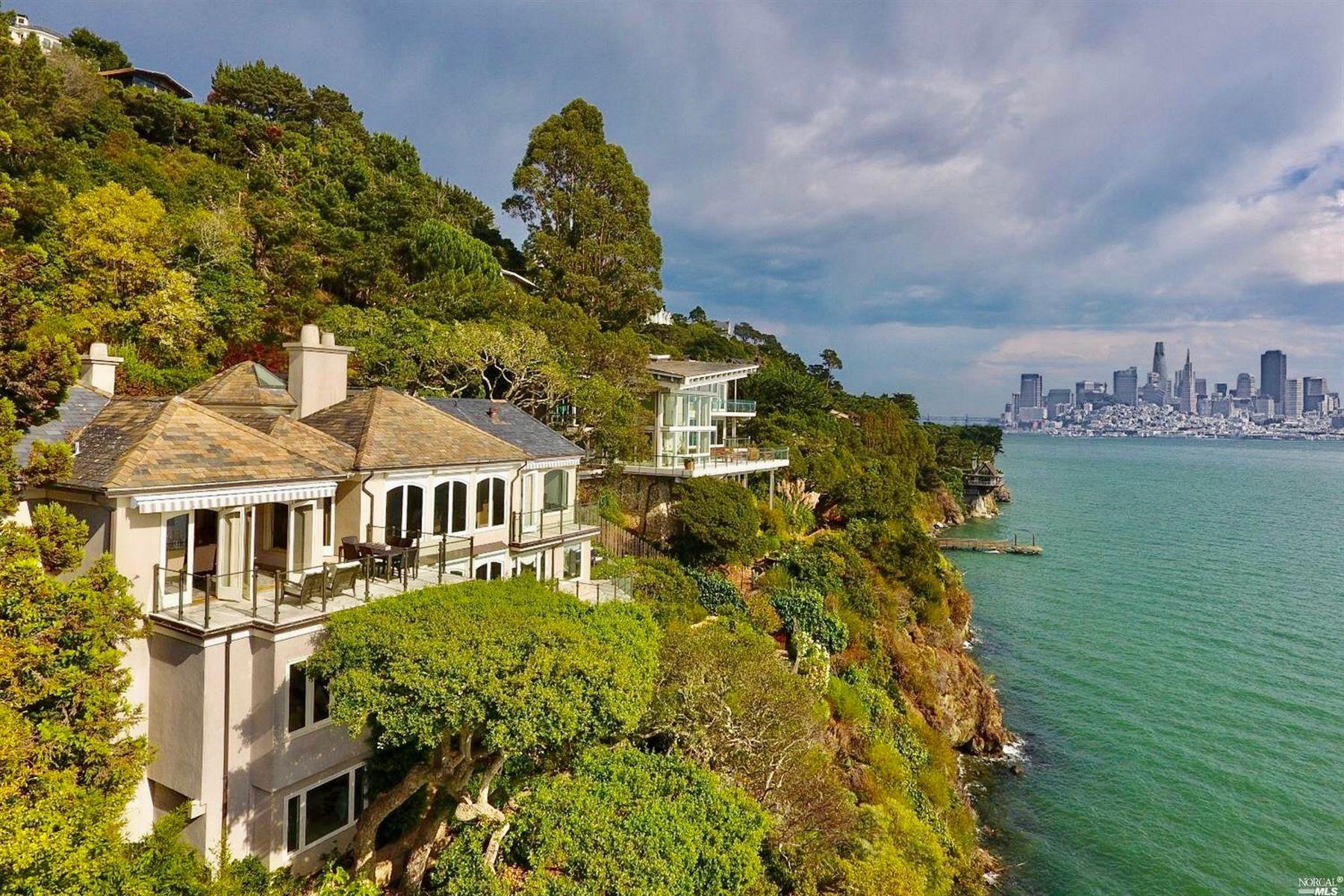 Single Family Homes pour l Vente à Custom Waterfront Home 6 Cliff Road, Belvedere, Californie 94920 États-Unis