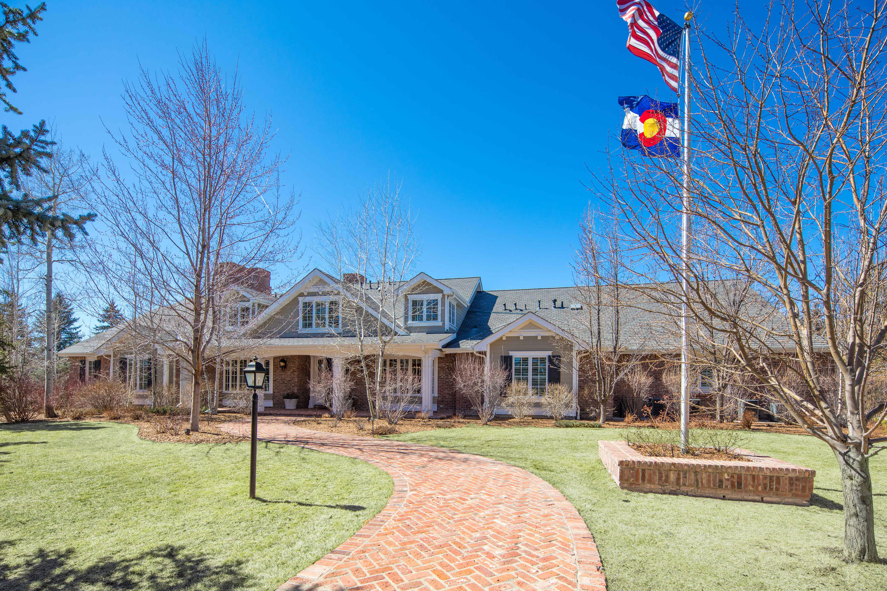 Single Family Home for Active at Spectacular Hampton-style estate set on four private acres. 5080 E Quincy Ave Cherry Hills Village, Colorado 80113 United States