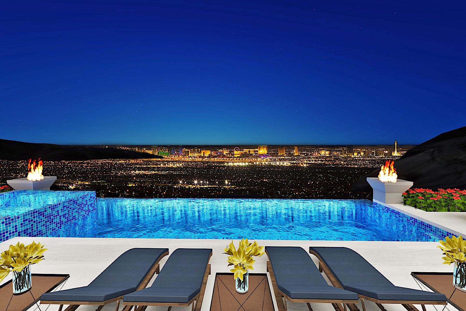 獨棟家庭住宅 為 出售 在 PEGASUS New Modern Single Story with Infinity Pool & Strip Views 663 Palisade Rim Drive Henderson, 內華達州, 89012 美國