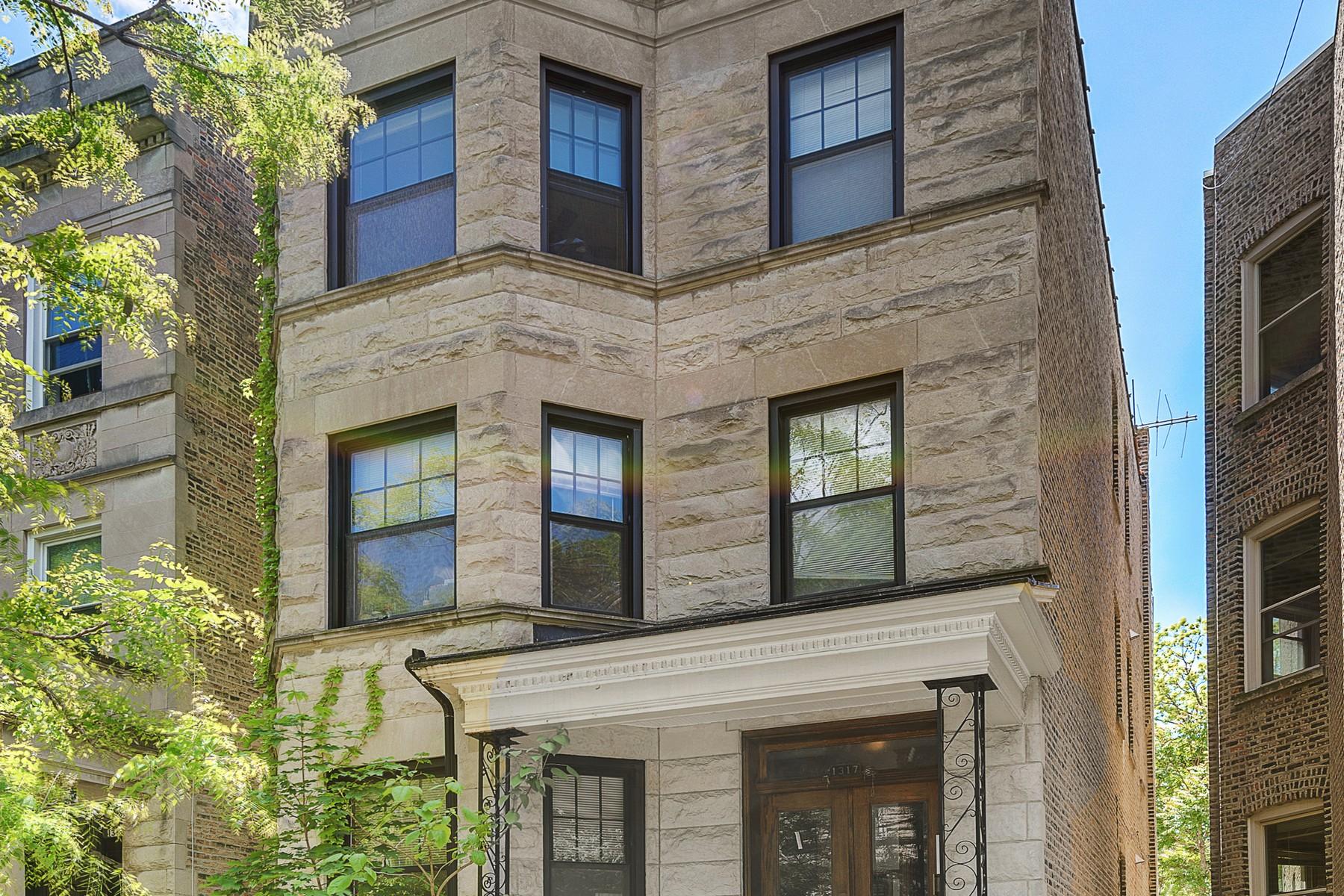 Mehrfamilienhaus für Verkauf beim Gorgeous Rehabbed Greystone 3-Flat 1317 W Eddy Street Chicago, Illinois, 60657 Vereinigte Staaten