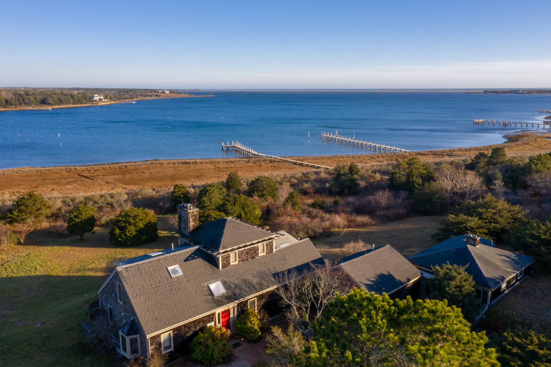 Single Family Home for Active at Waterfront house and guest house on Katama Bay 12 Milikin Way Edgartown, Massachusetts 02539 United States