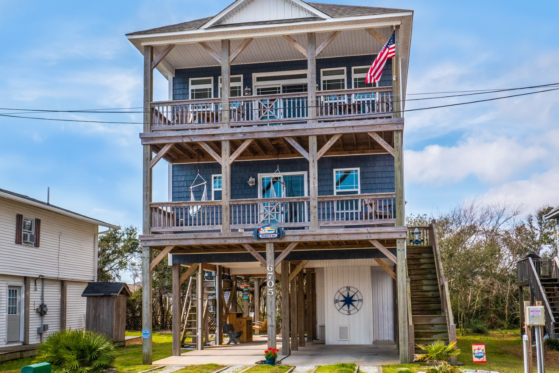 Single Family Homes for Sale at Topsail Beach Home With Panoramic Water Views 6705 13th Ave N Topsail Beach, North Carolina 28460 United States