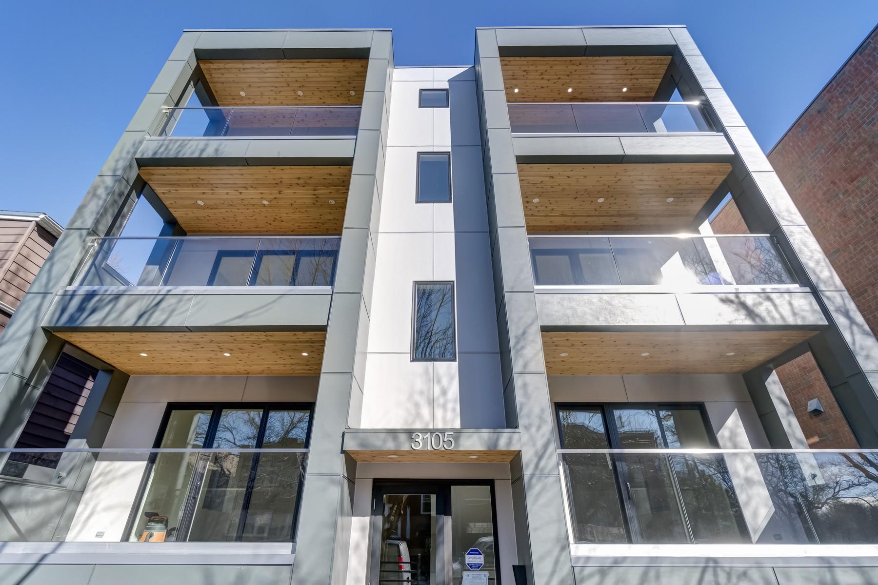 콘도미니엄 용 매매 에 Roscoe Village Contemporary New Construction 3105 N Damen Avenue Unit 1N North Center, Chicago, 일리노이즈, 60618 미국