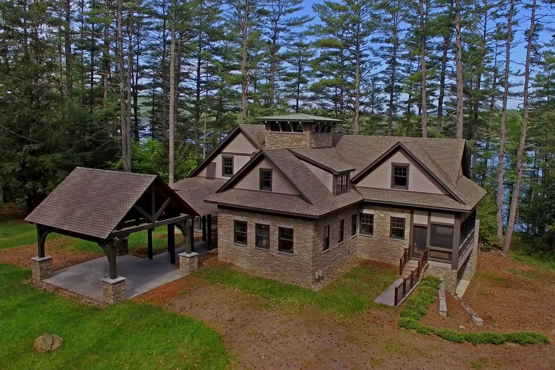 Single Family Homes for Active at Custom Adirondack Lake House on Over 2 Acres 18 Palisades East Brant Lake, New York 12815 United States
