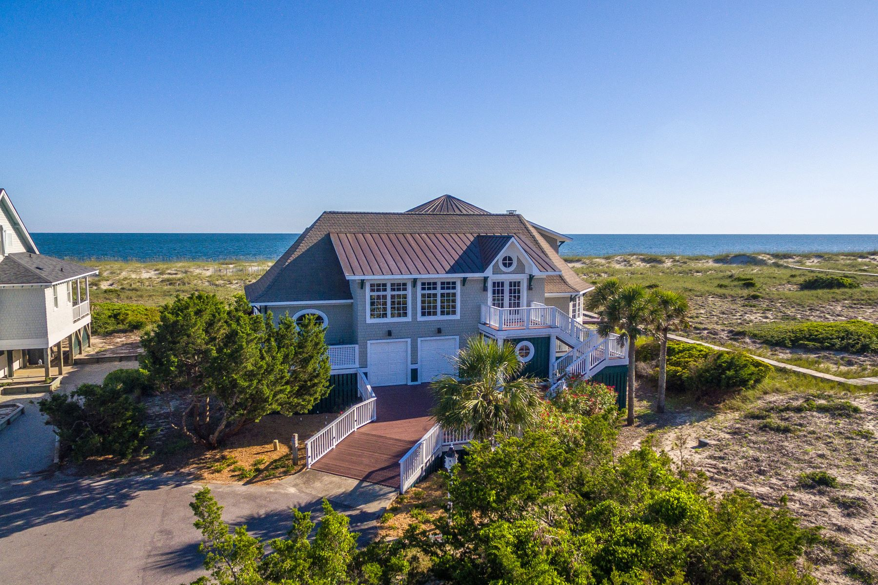 Single Family Homes for Sale at Elegant Ocean Front Home 6 Inverness Court Bald Head Island, North Carolina 28461 United States