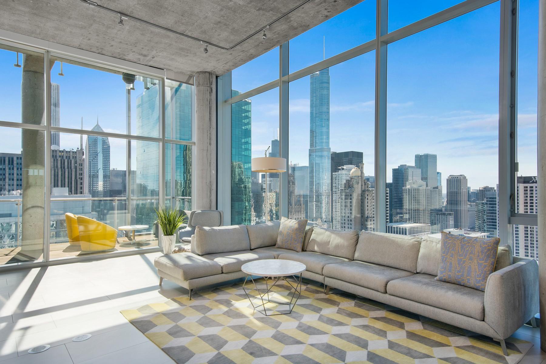 콘도미니엄 용 매매 에 Sublime Duplex Penthouse 600 N Fairbanks Court Unit 4005, Chicago, 일리노이즈, 60611 미국