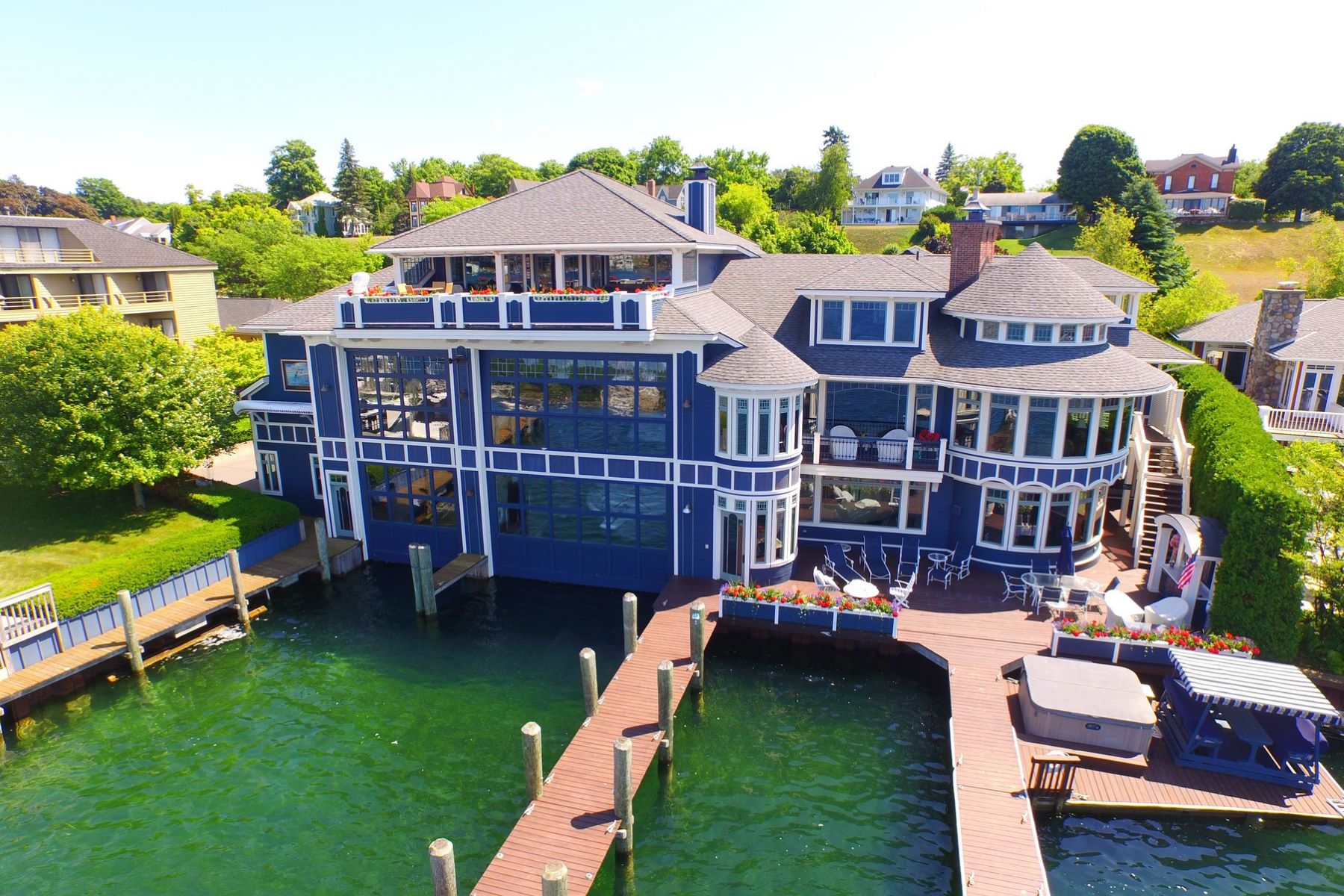 Single Family Home for Sale at Round Lake Estate and Boathouse 125 Belvedere Avenue Charlevoix, Michigan 49720 United States