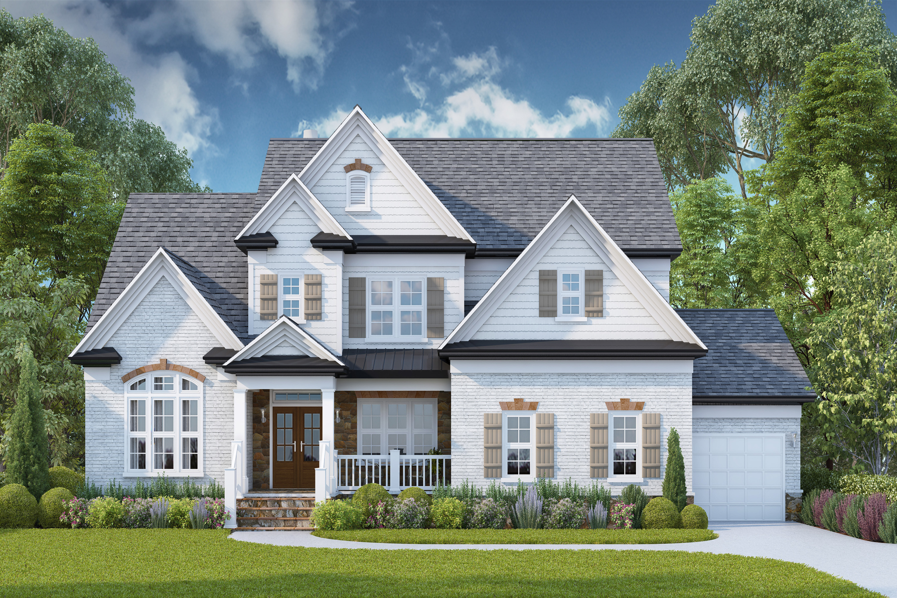 Single Family Homes for Active at New Construction On Great Lot In Swim Tennis Community 13133 Overlook Pass Roswell, Georgia 30075 United States