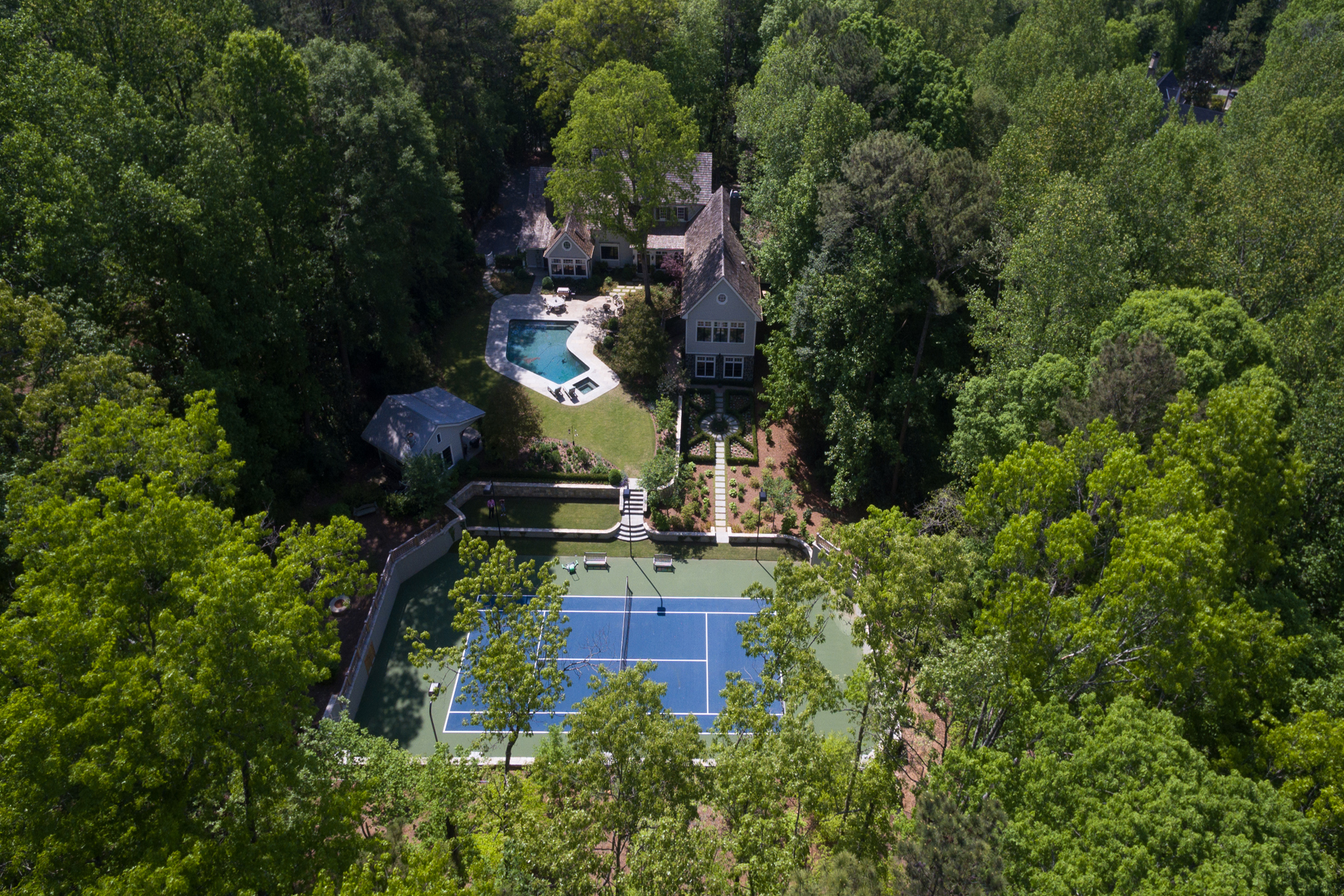 Single Family Home for Active at Amazing 4.86 Acre Estate Property With Lighted Tennis Court And Pool 4000 Conway Valley Road NW Atlanta, Georgia 30327 United States