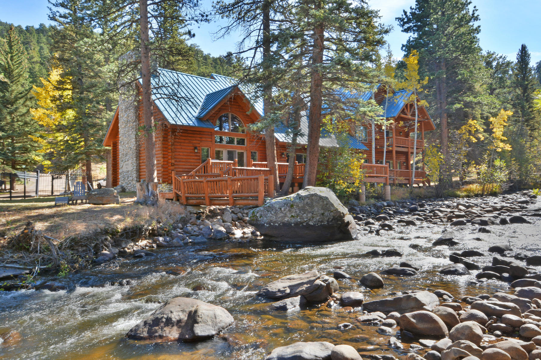 Casa Unifamiliar por un Venta en Majestic Log Cabin 2222 Highway 66 Estes Park, Colorado 80517 Estados Unidos