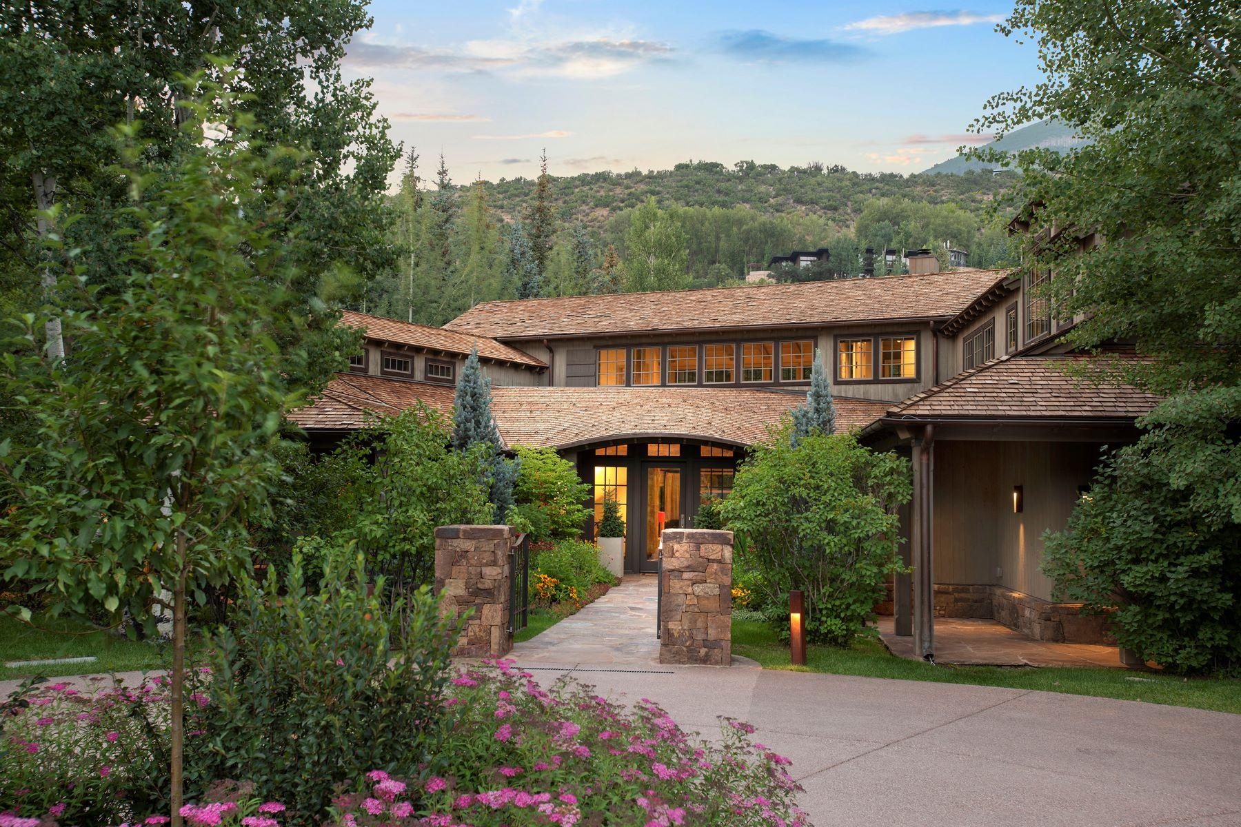 Single Family Homes por un Venta en Custom-Built, Riverfront Aspen Property 1260 Red Butte Drive Aspen, Colorado 81611 Estados Unidos