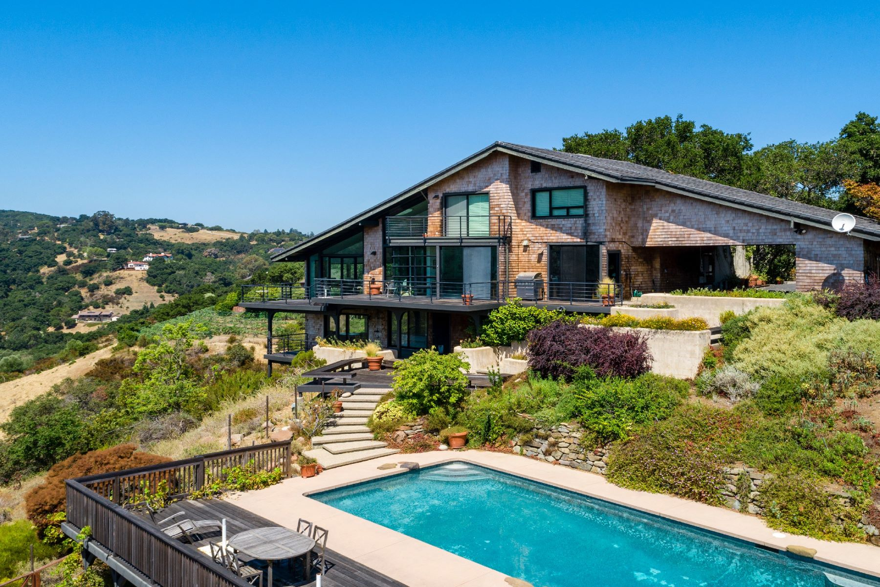 Single Family Homes for Sale at Sophisticated Contemporary Home with Panoramic Canyon Views 27431 Deer Springs Way Los Altos Hills, California 94022 United States