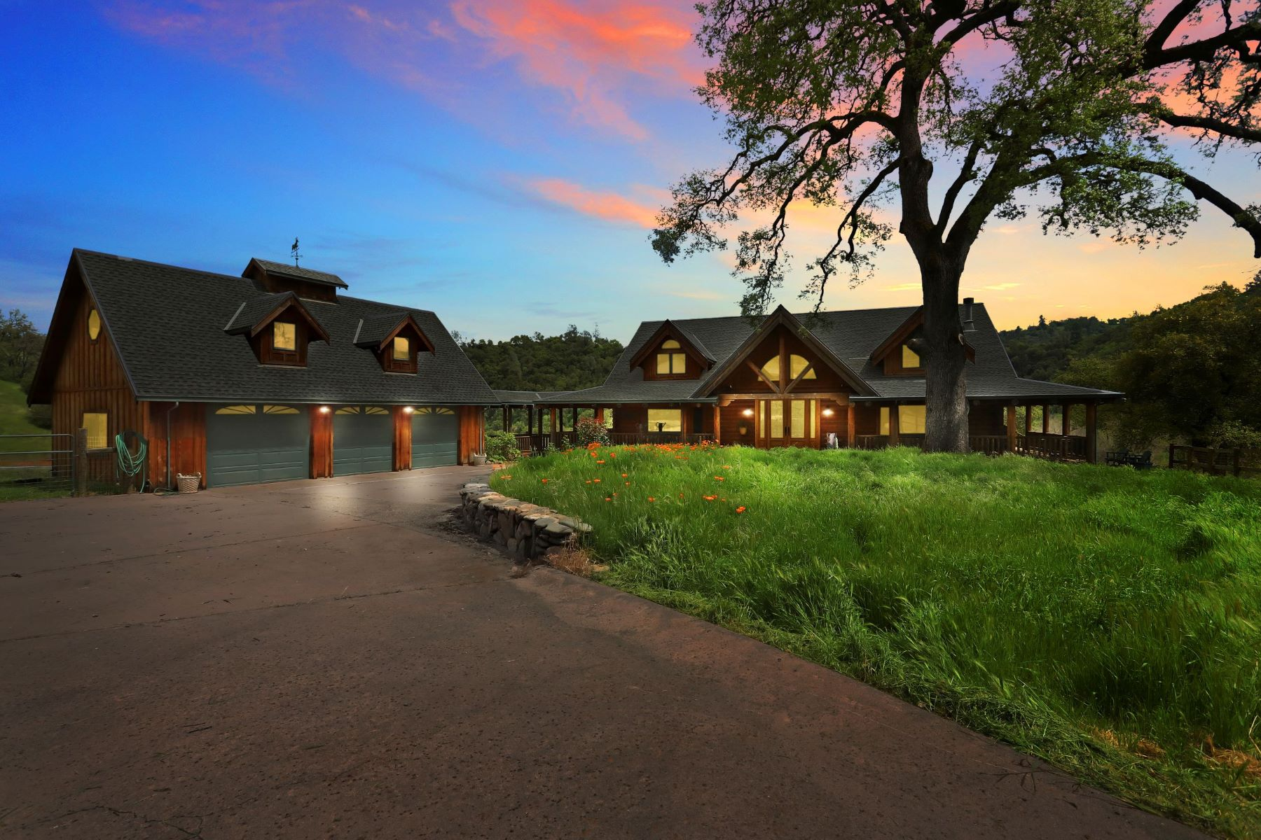Single Family Homes for Sale at Custom Log Home on the Calaveras River 4200 River Ranch Road San Andreas, California 95249 United States