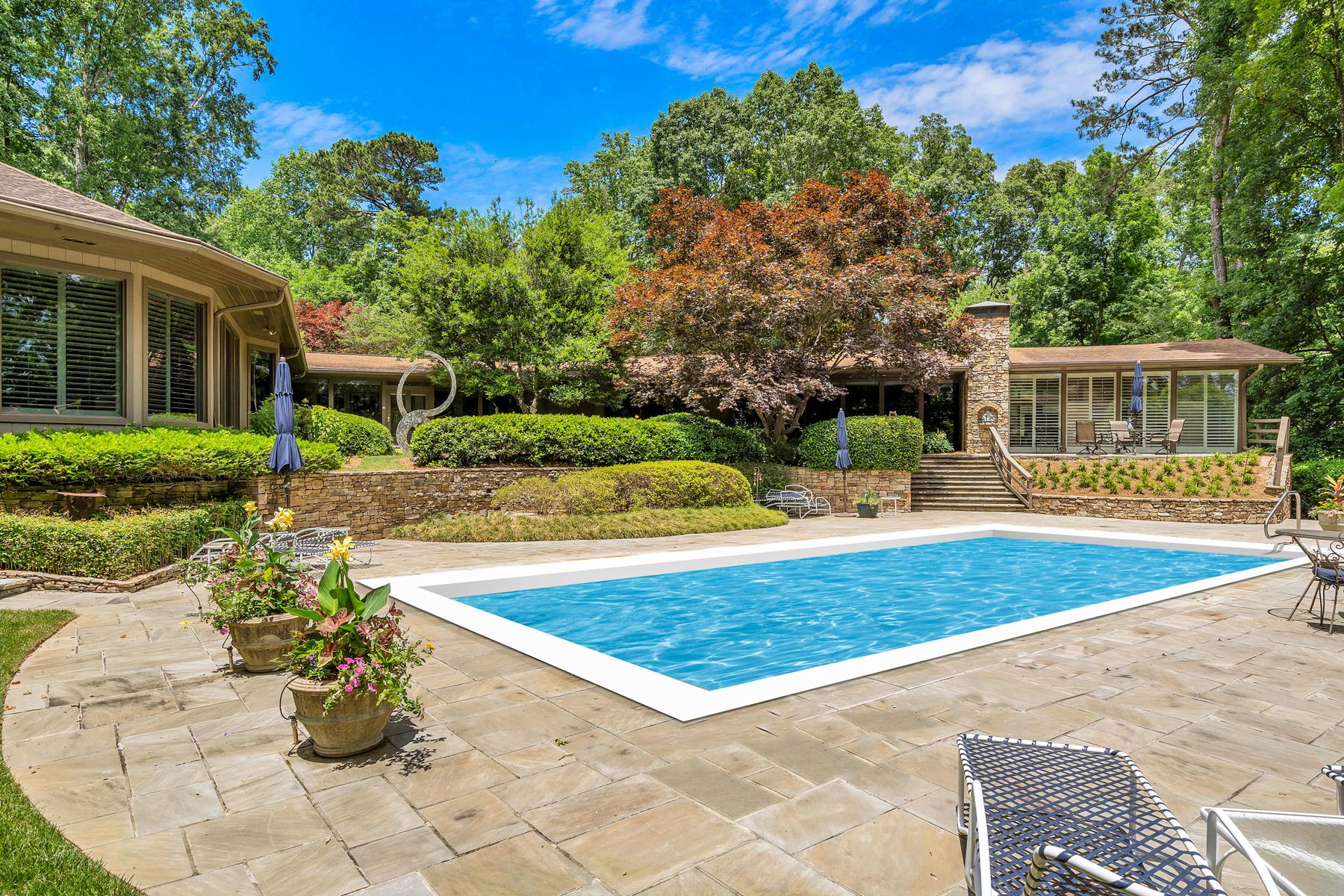 Single Family Homes pour l Vente à Charming Contemporary on 2.5+/- Acres 630 Broadland Road, Atlanta, Georgia 30327 États-Unis