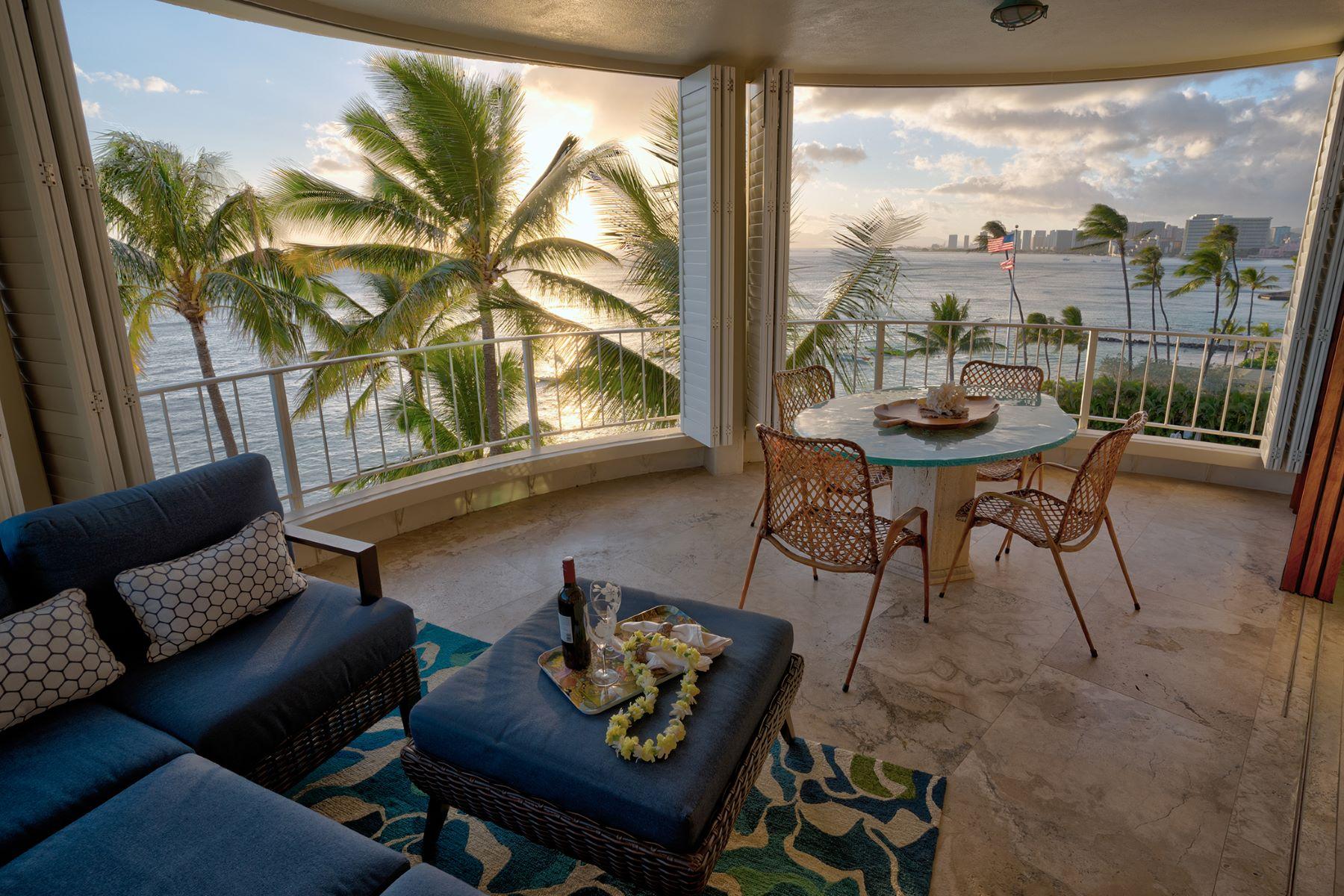 Condominiums for Sale at Castle Surf Apartments Condo, Diamond Head, Ocean Views, Sunset Views 2937 Kalakaua Avenue #61 Honolulu, Hawaii 96815 United States