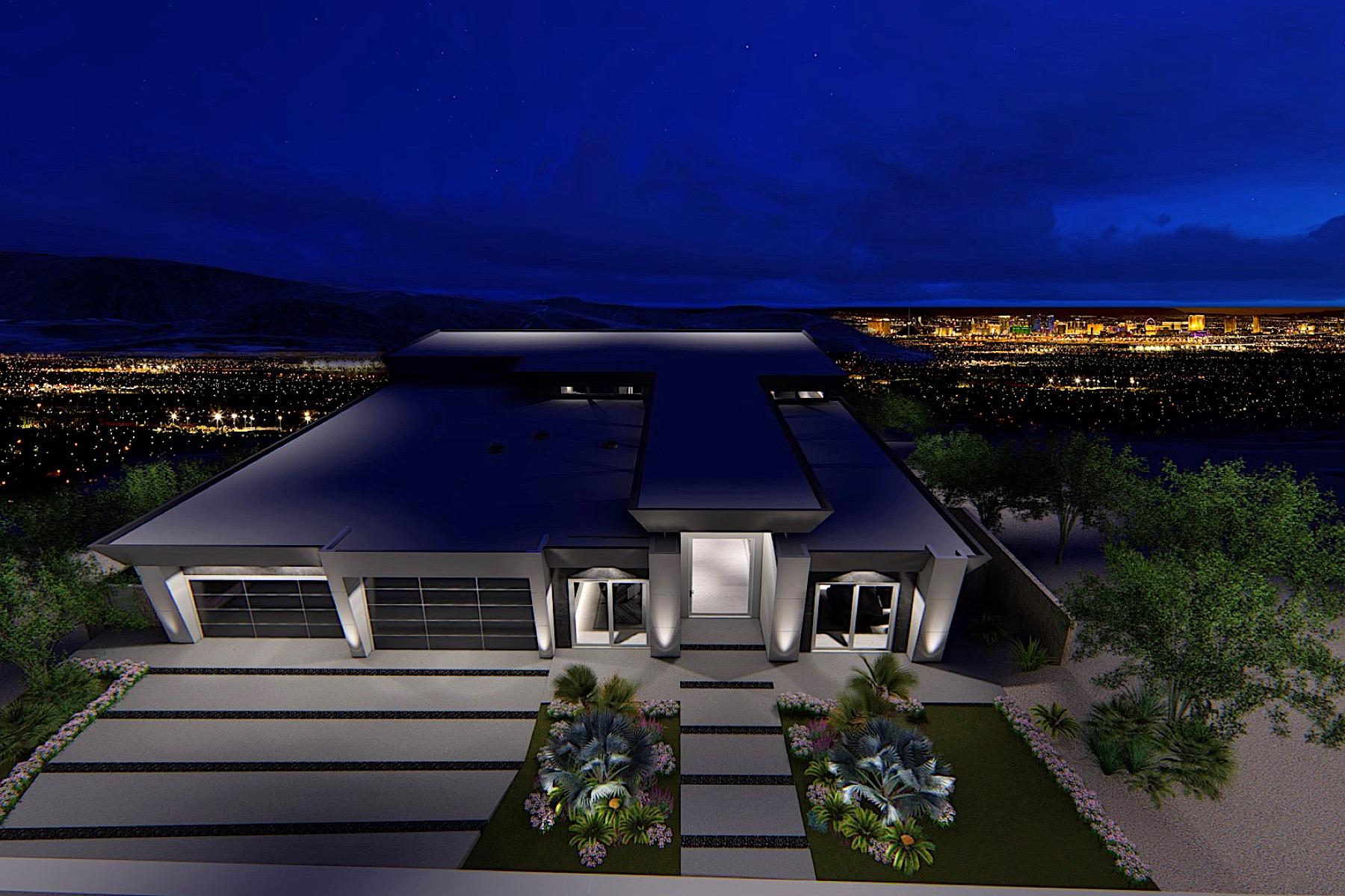Single Family Homes for Sale at Cosmos New Modern One Story Custom with Strip Views 643 Cityview Ridge Drive Henderson, Nevada 89012 United States