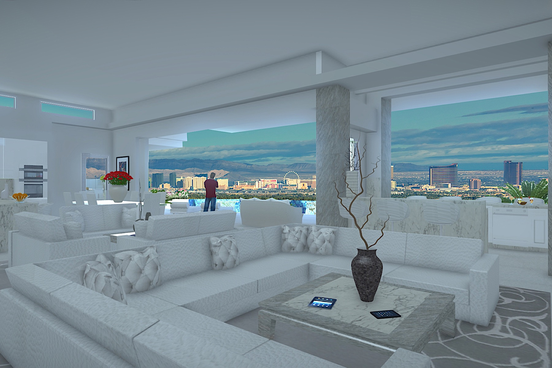 Additional photo for property listing at Antares   New Modern Single Story with 75' Lap Pool and Strip Views 686 Tranquil Rim Henderson, Nevada 89012 United States