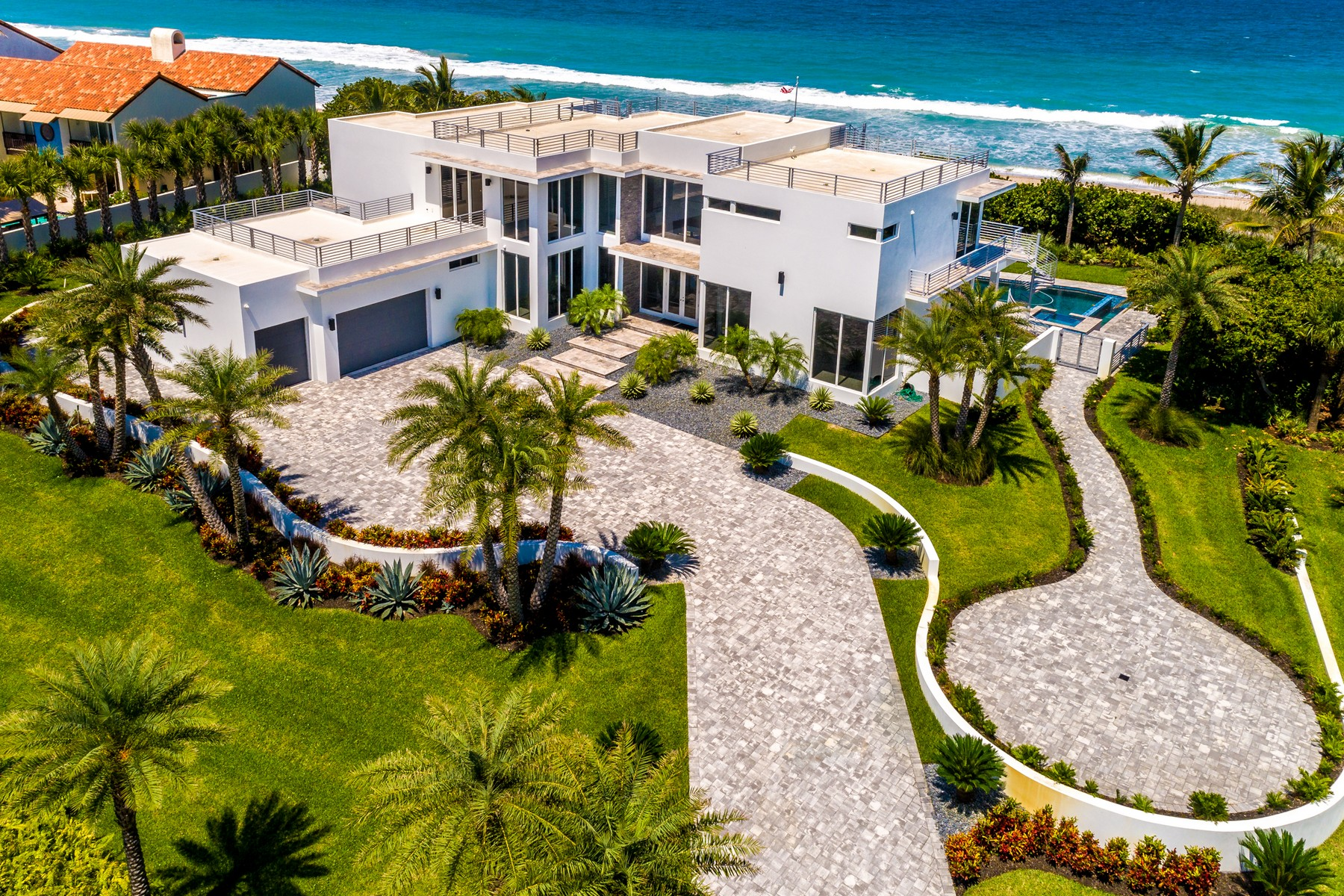 Single Family Homes for Sale at Modern Masterpiece with Captivating Panoramic Ocean and River Views 9445 Highway A1A Melbourne Beach, Florida 32951 United States