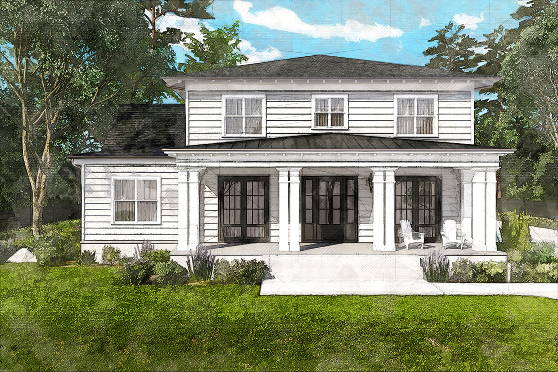 Single Family Homes pour l Vente à New Build Farmhouse On Acreage With Lake View 2742 Thornbriar Road, Doraville, Georgia 30340 États-Unis