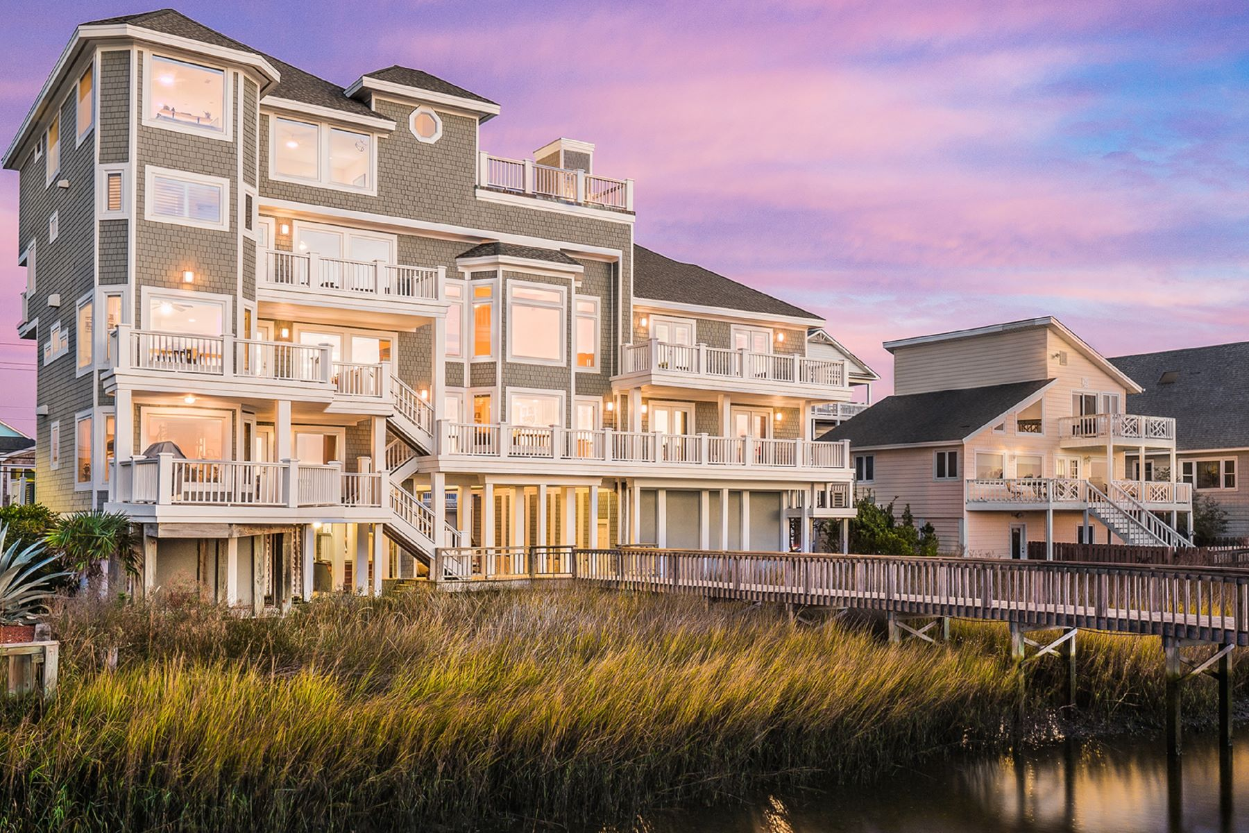 Single Family Homes for Active at Breathtaking Soundfront Property in Carolina Beach 1107 Canal Drive Carolina Beach, North Carolina 28428 United States