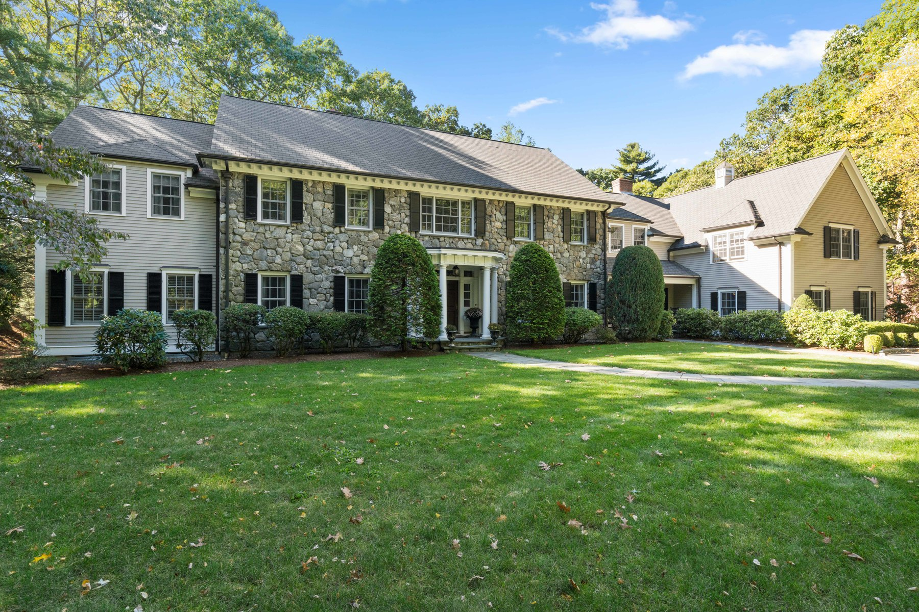 Single Family Home for Sale at Distinctive Stonefront Colonial 50 Conant Road, Weston, Massachusetts, 02493 United States