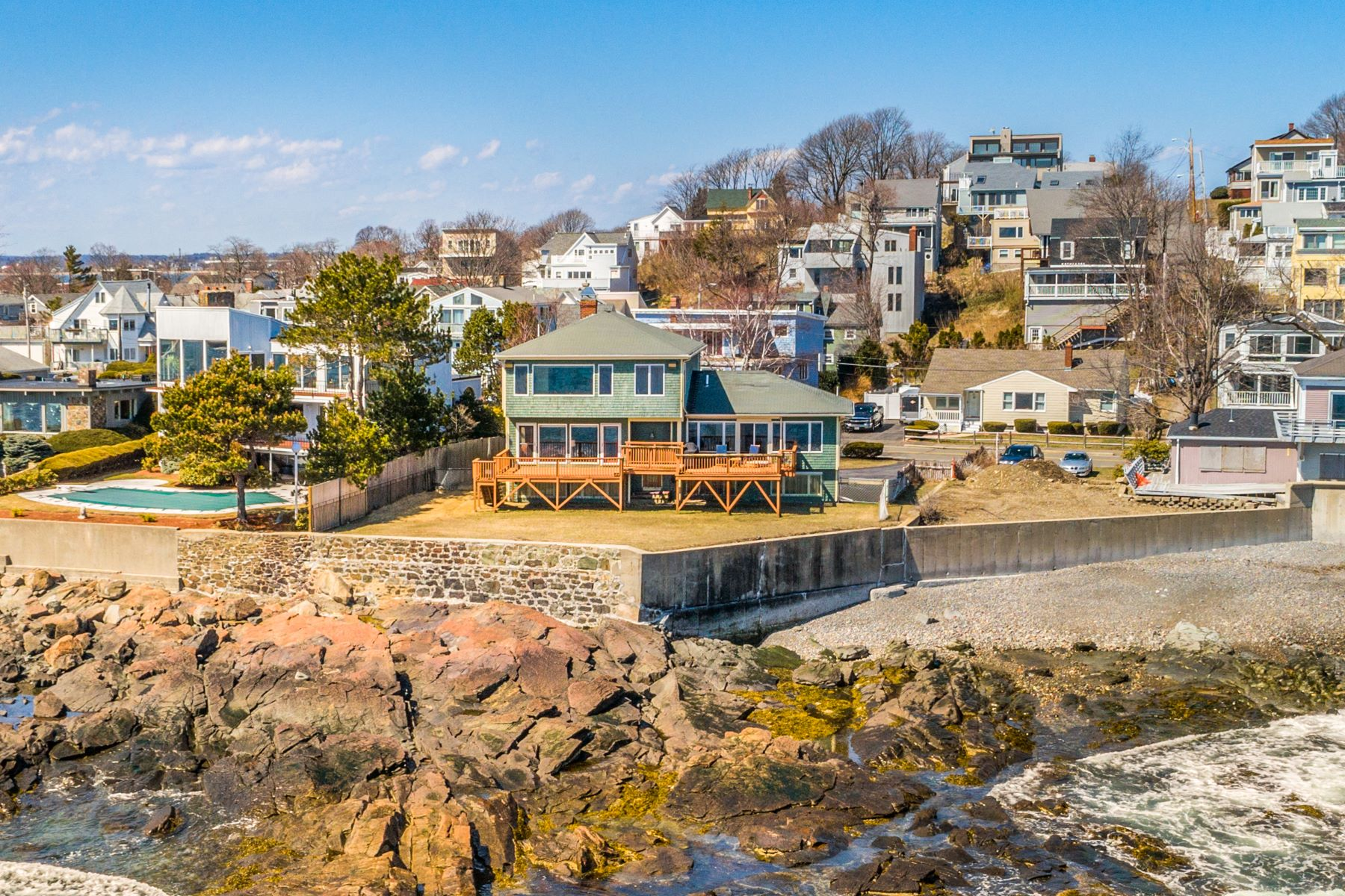 Single Family Home for Active at Direct Oceanfront Home - Amazing Views of Boston and South Shore 135 Bass Point Road Nahant, Massachusetts 01908 United States