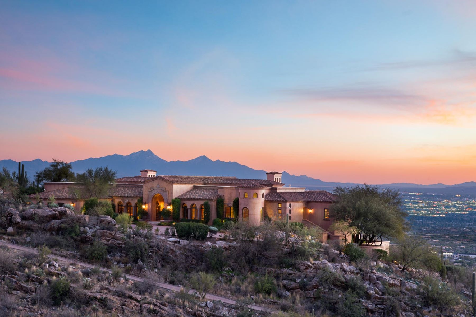 Single Family Homes for Active at Stunning Hilltop Mediterranean Masterpiece 7406 N Secret Canyon Drive Tucson, Arizona 85718 United States