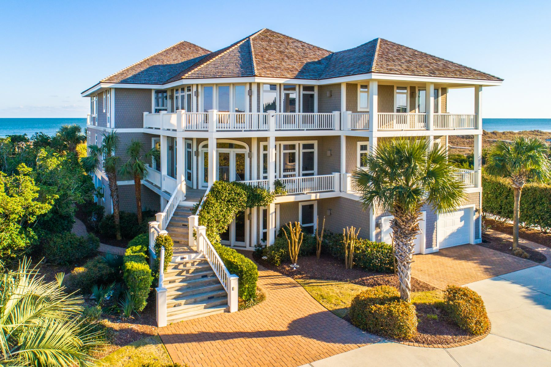 Single Family Homes for Sale at Magnificent Oceanfront Residence on Private and Gated Island in North Carolina 1 Surf Court Wilmington, North Carolina 28411 United States