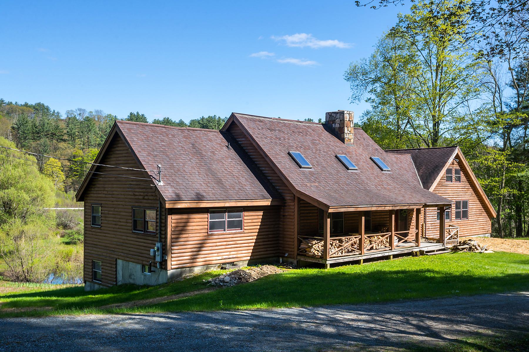 Single Family Homes for Sale at Log Cabin 18 acres Views Battenkill frontage 6180 Vt Route 7a Sunderland, Vermont 05250 United States