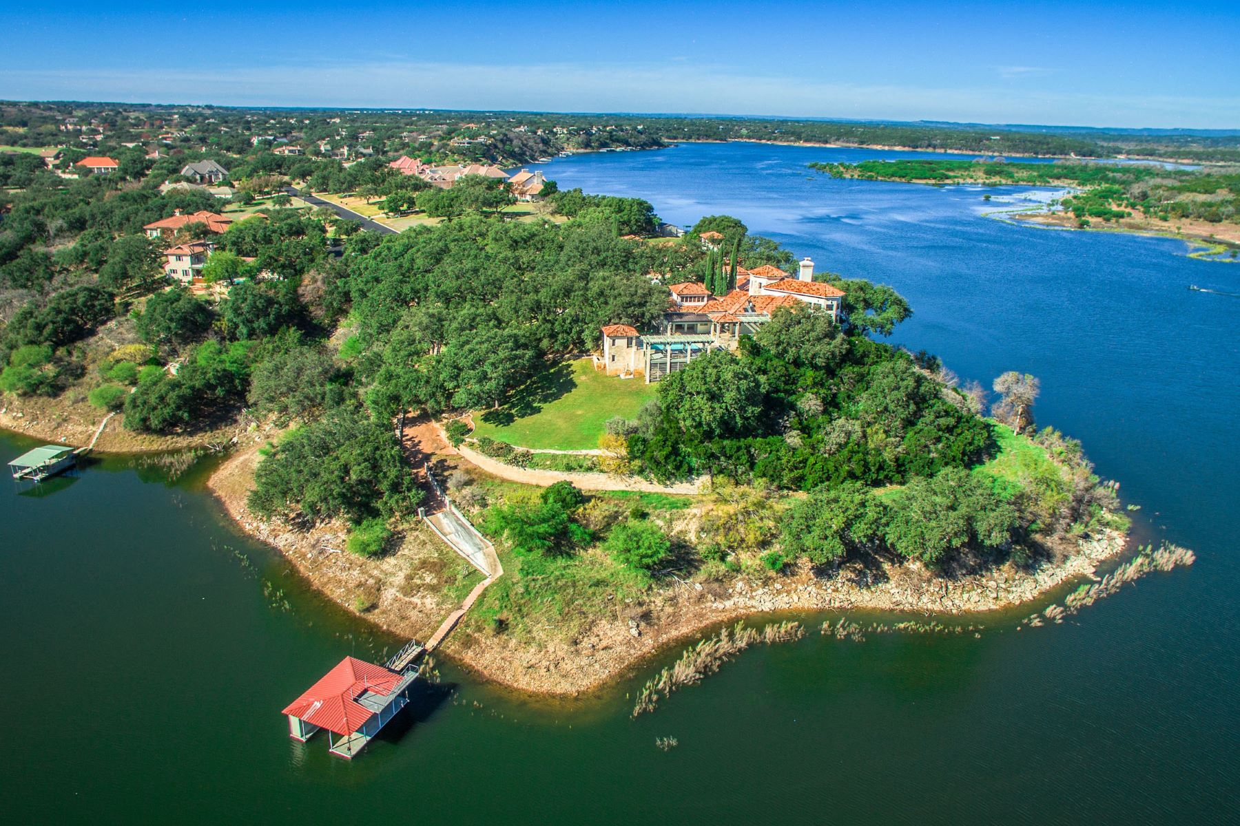 Single Family Home for Sale at Gated Estate on Lake Travis Peninsula 26100 Countryside Dr Spicewood, Texas 78669 United States