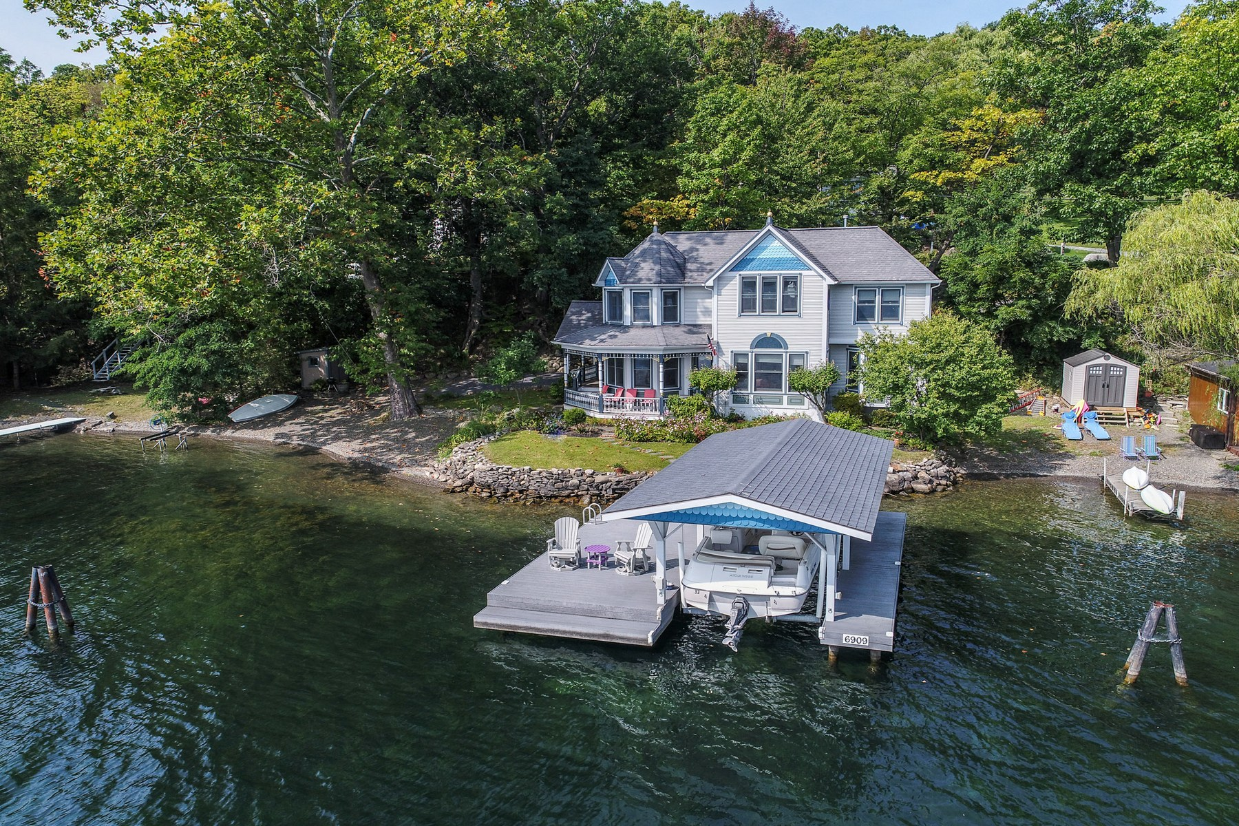 Single Family Home for Sale at Lovely Painted Lady on Keuka Lake 6909 E Bluff Dr Penn Yan, New York 14527 United States