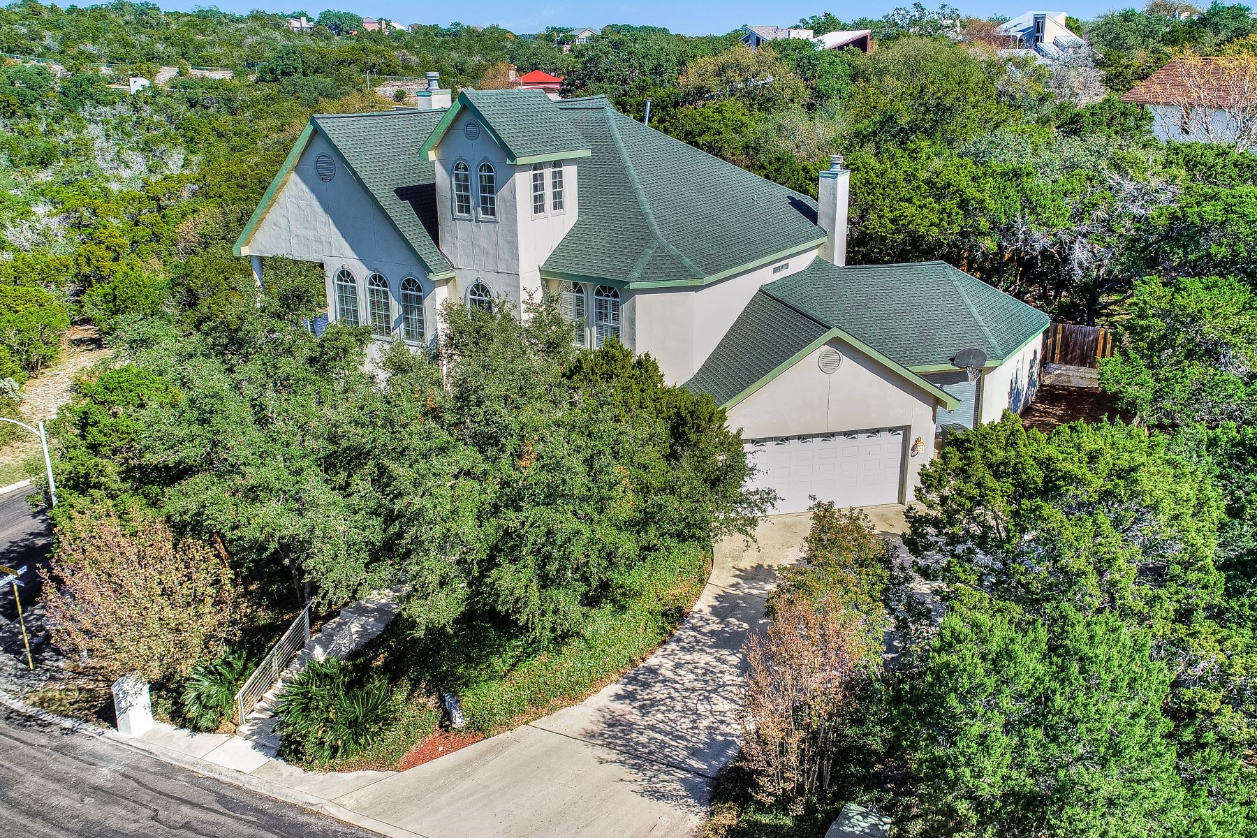 Single Family Homes for Sale at Spectacular Home High on the Hill with views for miles! 16744 Windjammer Helotes, Texas 78023 United States