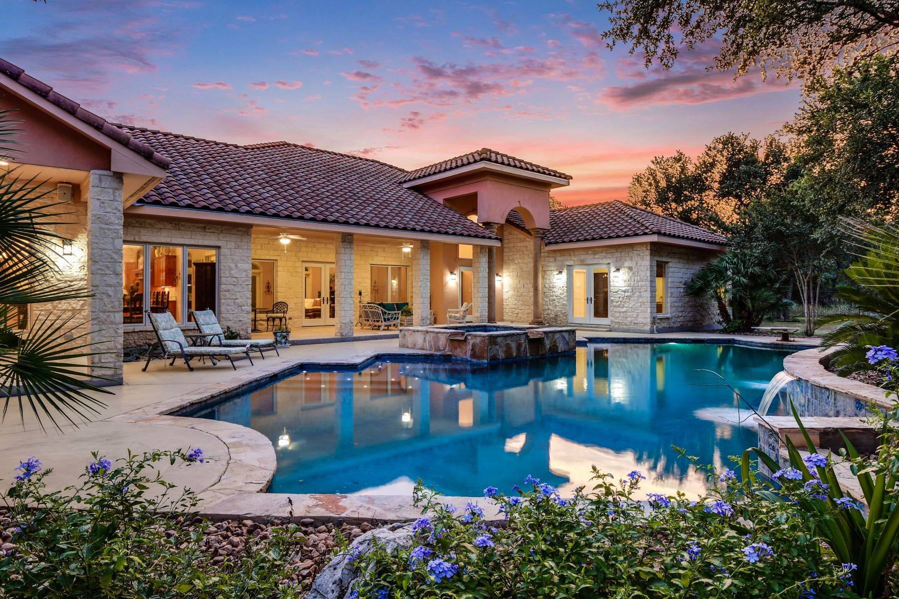 Single Family Homes for Active at Breathtaking Mediterranean Home In Riverforest 173 Oak Canopy Court New Braunfels, Texas 78132 United States