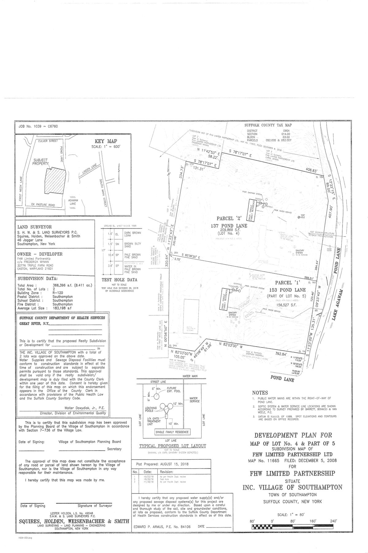Single Family Homes 为 销售 在 Spectacular Waterviews Over Lake Agawam 137,153 Pond Lane, Lot 4 & 5 南安普敦, 纽约 11968 美国