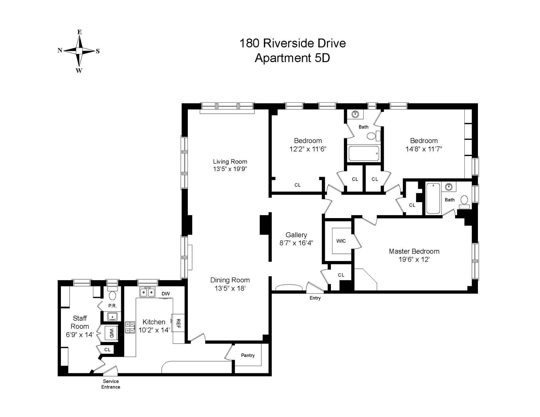 Co-op Properties для того Продажа на 180 Riverside Drive,5D 180 Riverside Drive 5D, New York, Нью-Йорк 10024 Соединенные Штаты